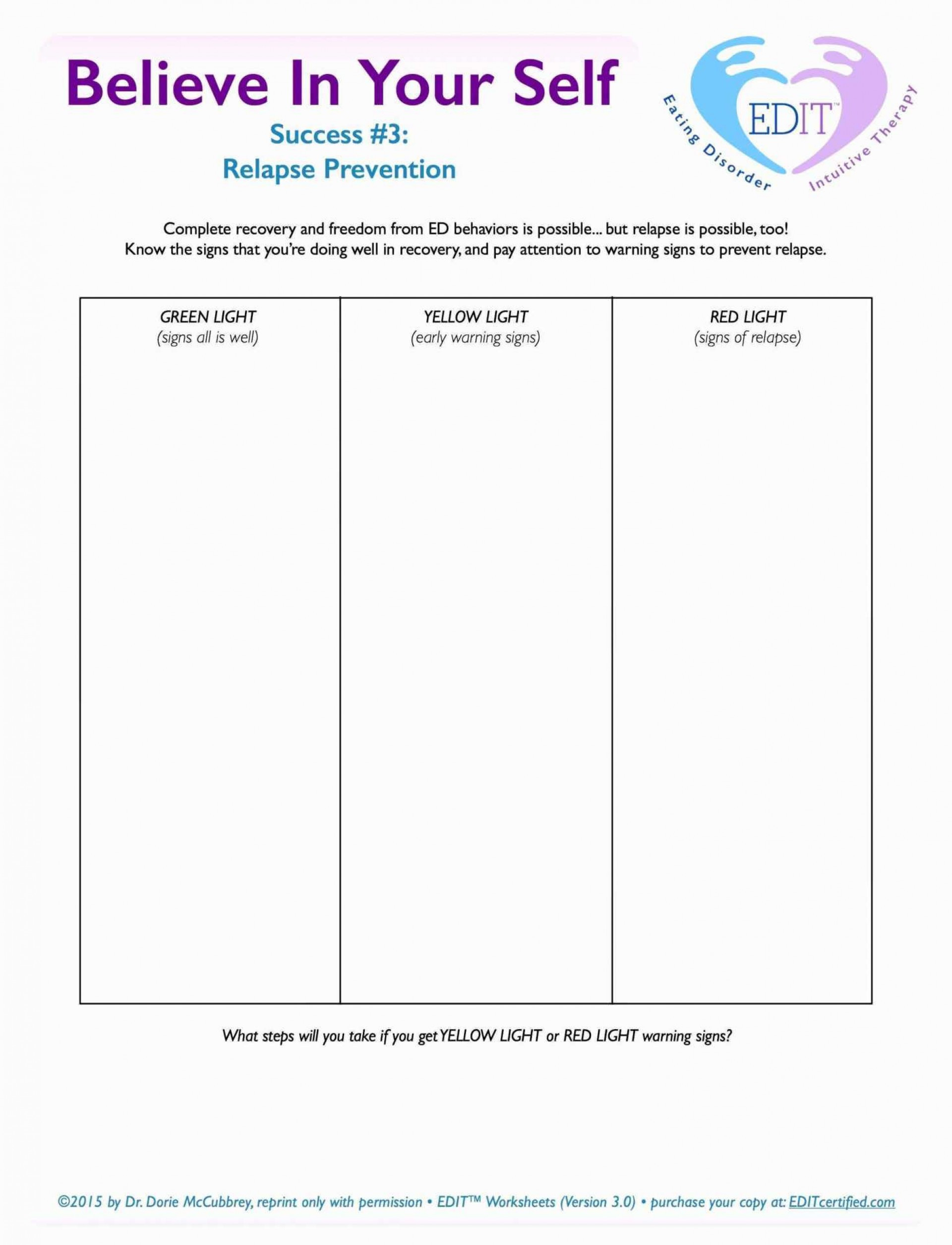 Drug Recovery Worksheets