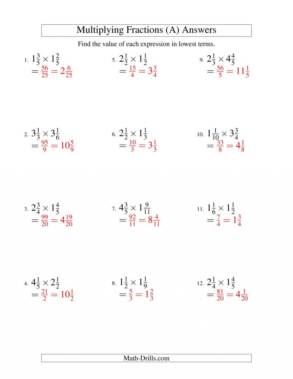 006 Fraction Math Worksheet Multiplying Mixed Fractions