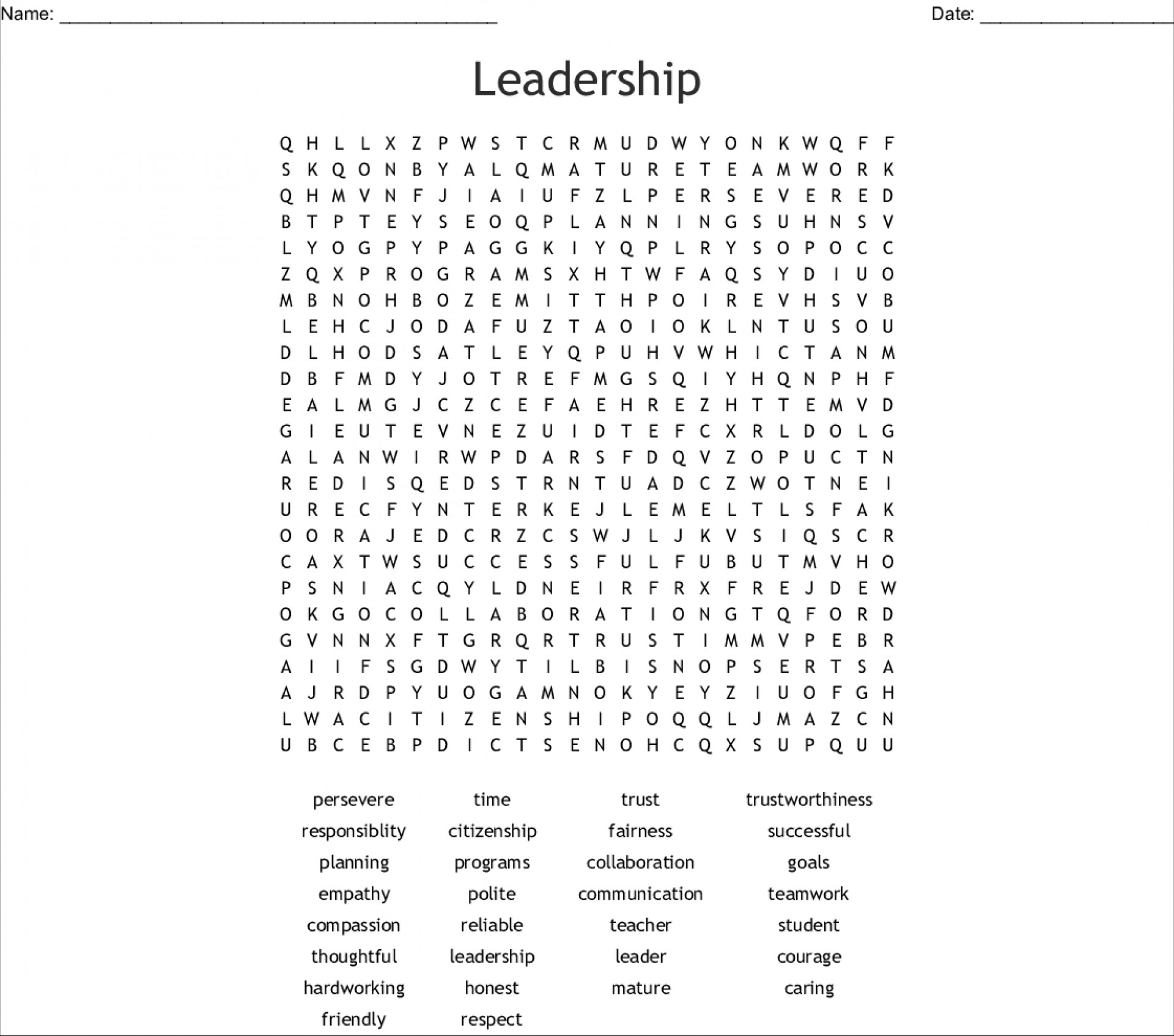011 Leadership Printable Word Hard Searches