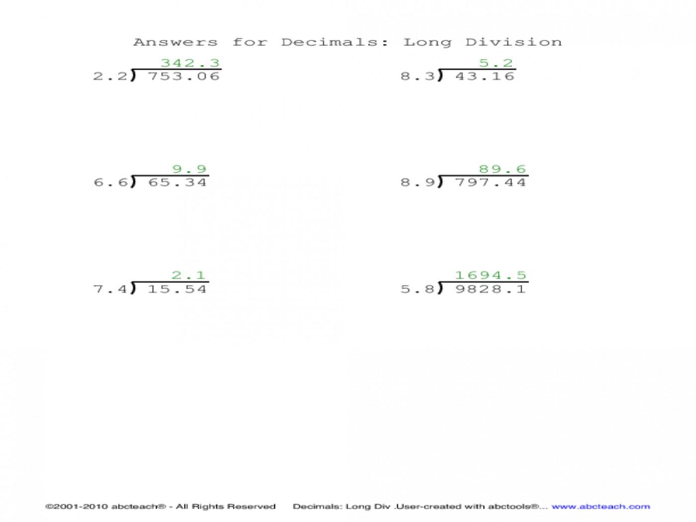 012 Worksheet Long Division With Decimals Decimal