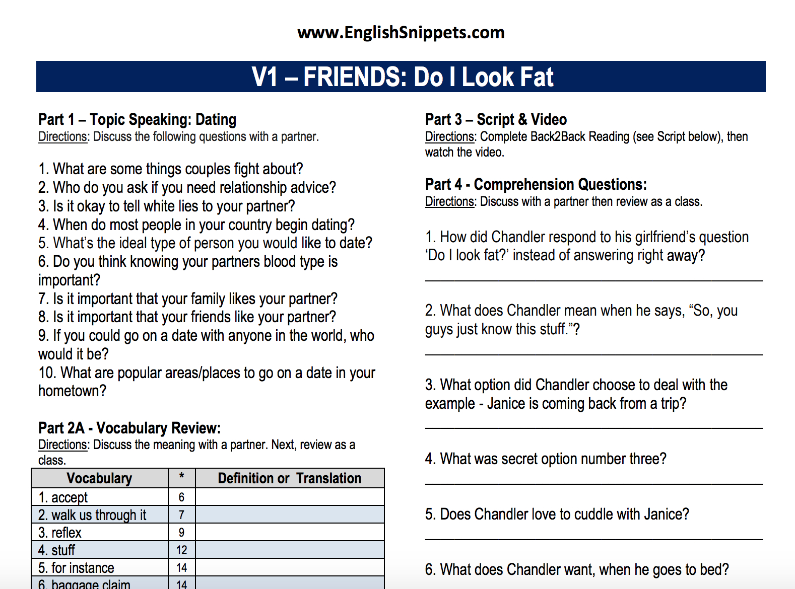 Free Movie Worksheets For Your Esl Classroom