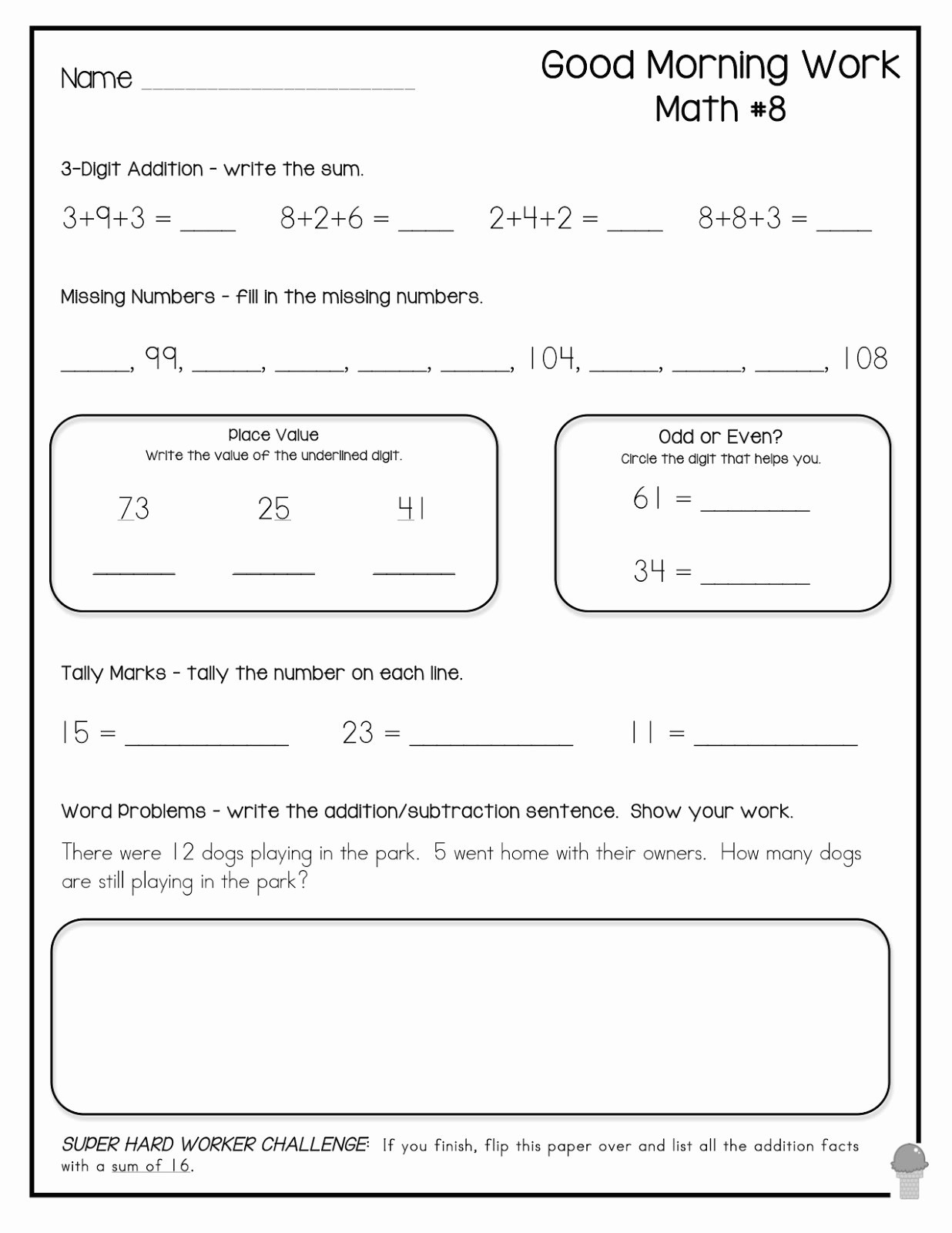 3rd Grade Math Brain Teasers Worksheets Printable