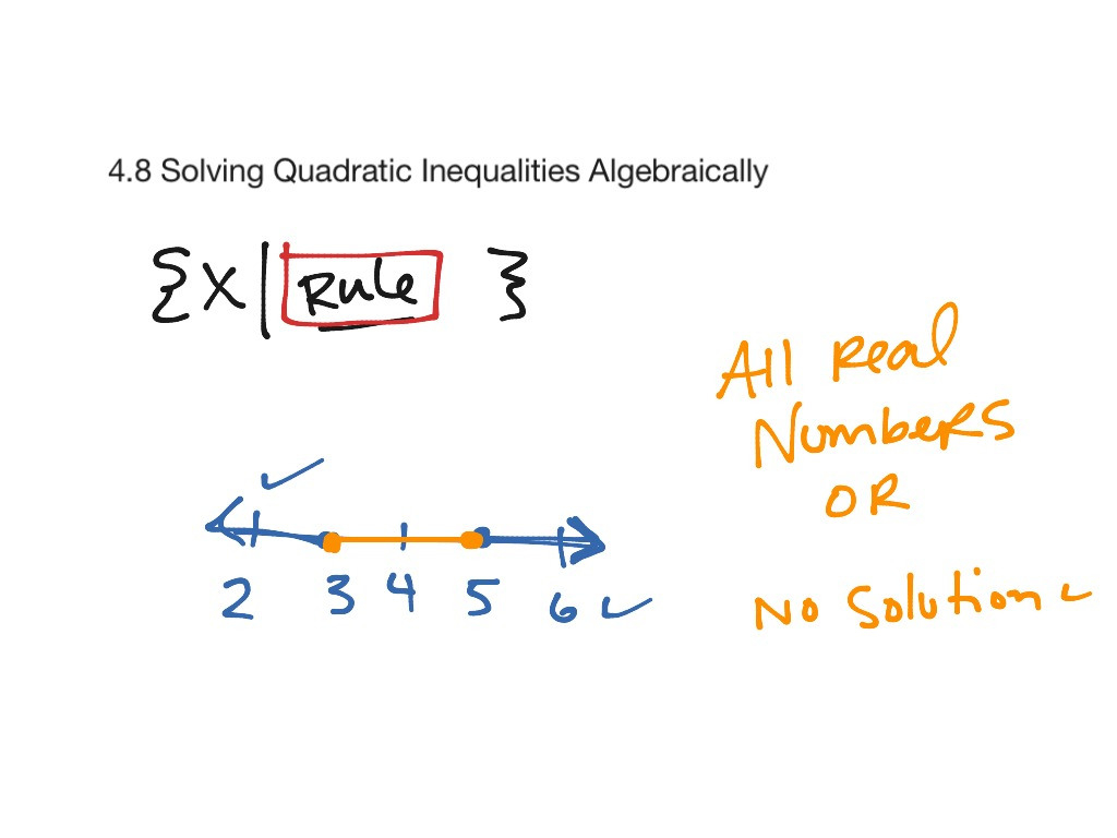 48 Solving Quadratic Inequalities Algebraically Math