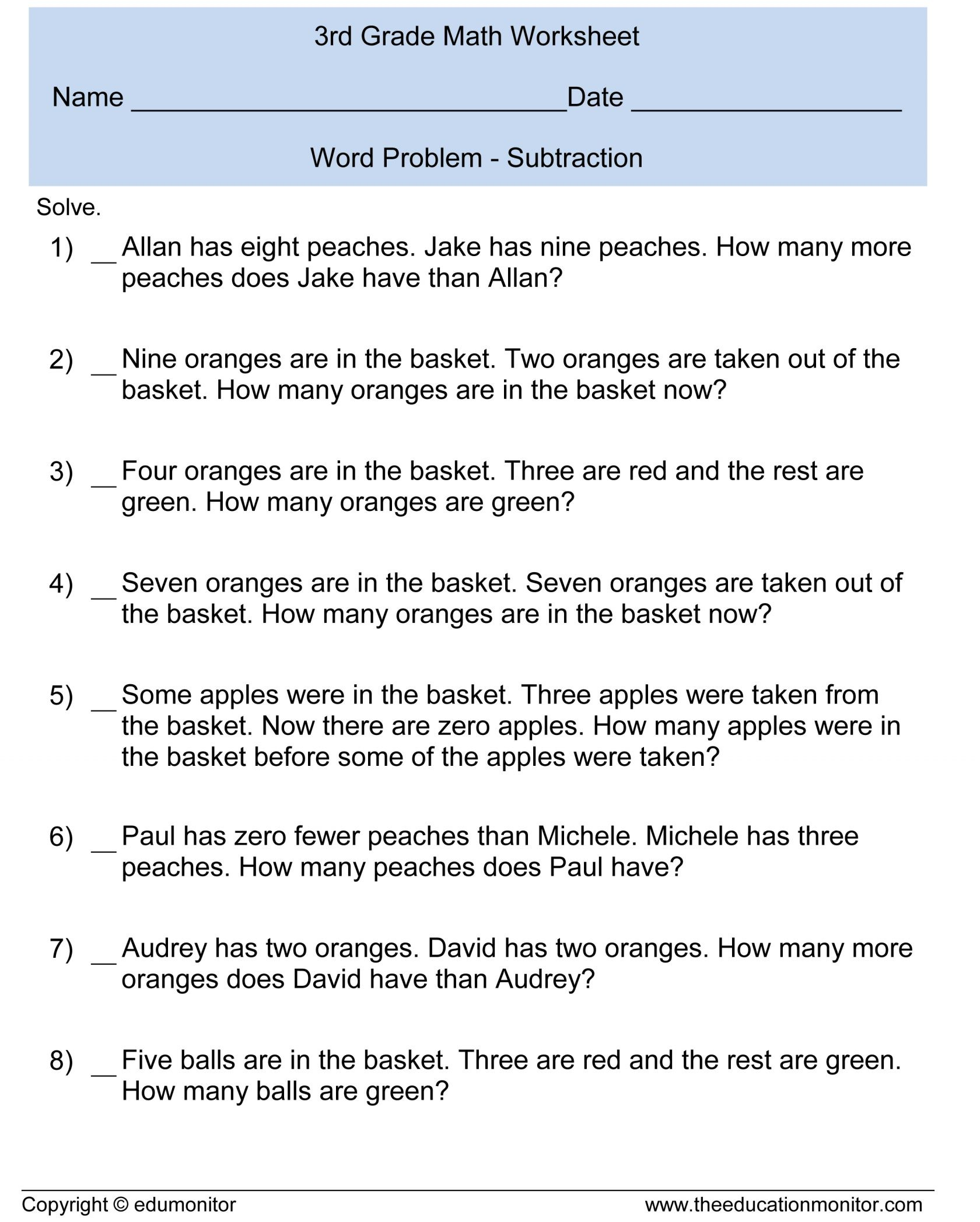 4th Grade Math Money Word Problems Worksheets With 2nd