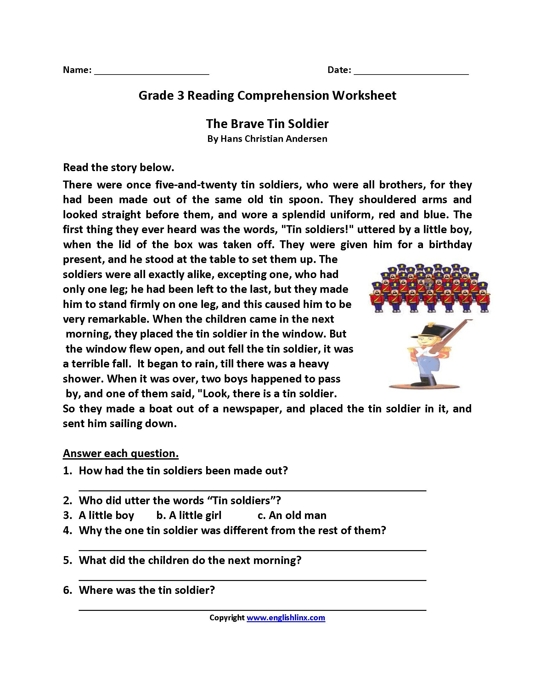 Reading Comprehension Multiple Chice Worksheets