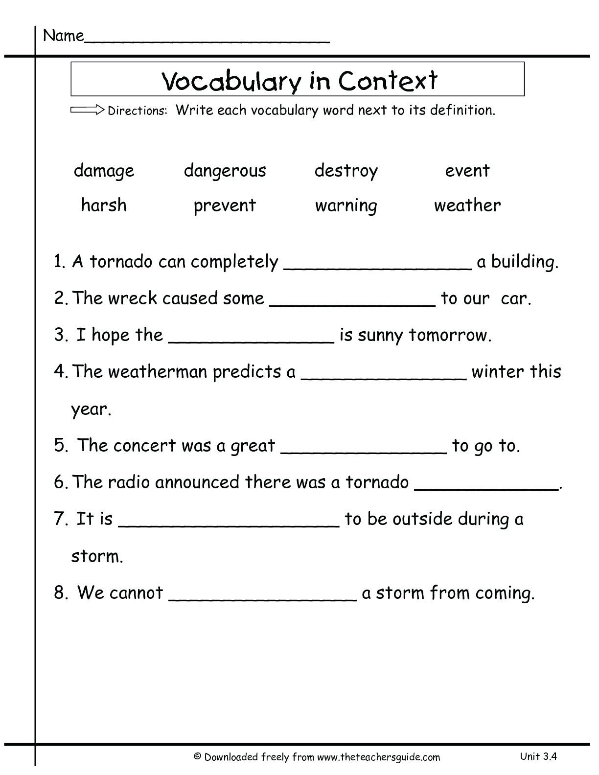 4th Grade Vocabulary Worksheets To Free Math Worksheet For