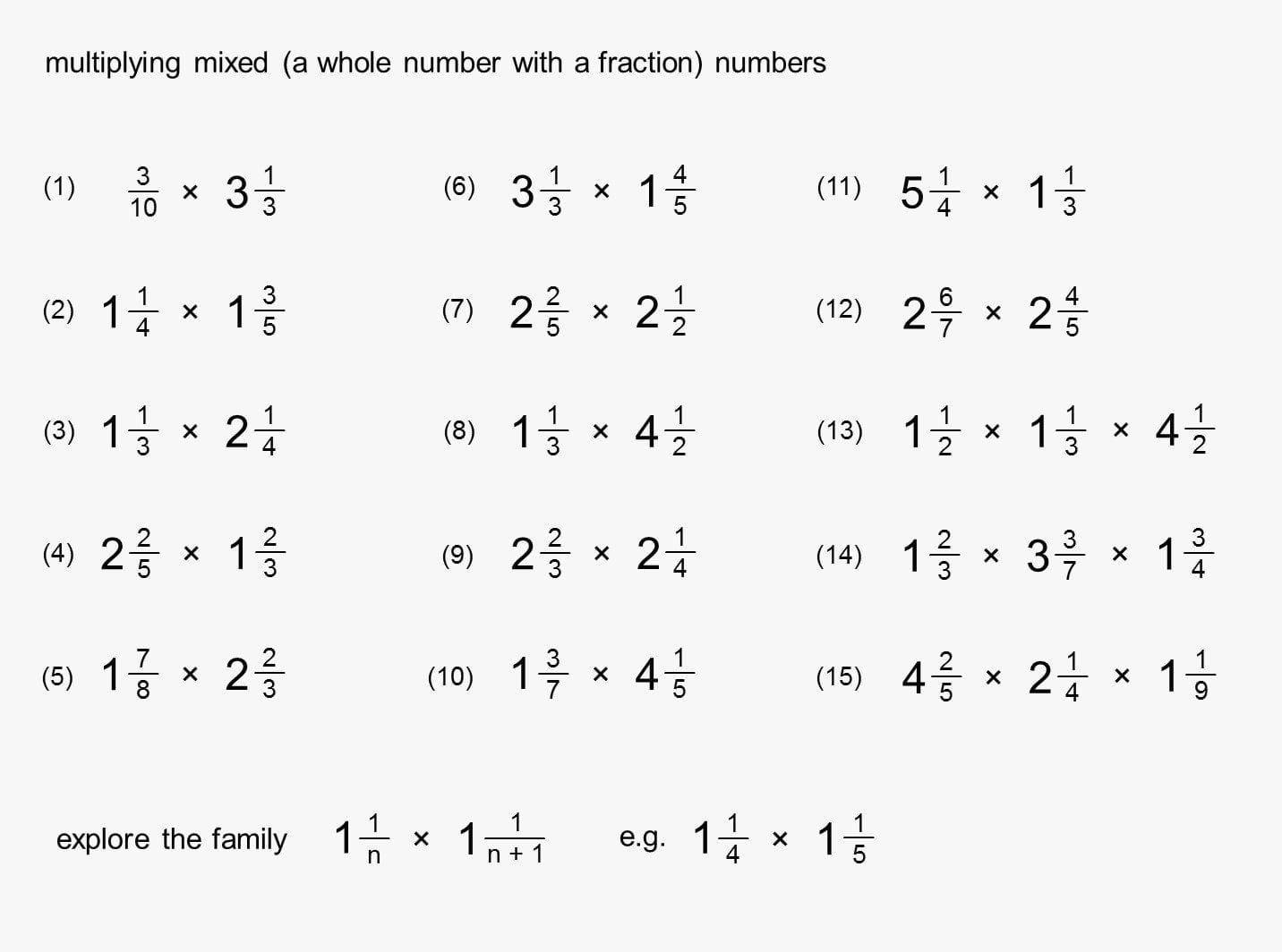 Dividing Mixed Numbers Worksheet