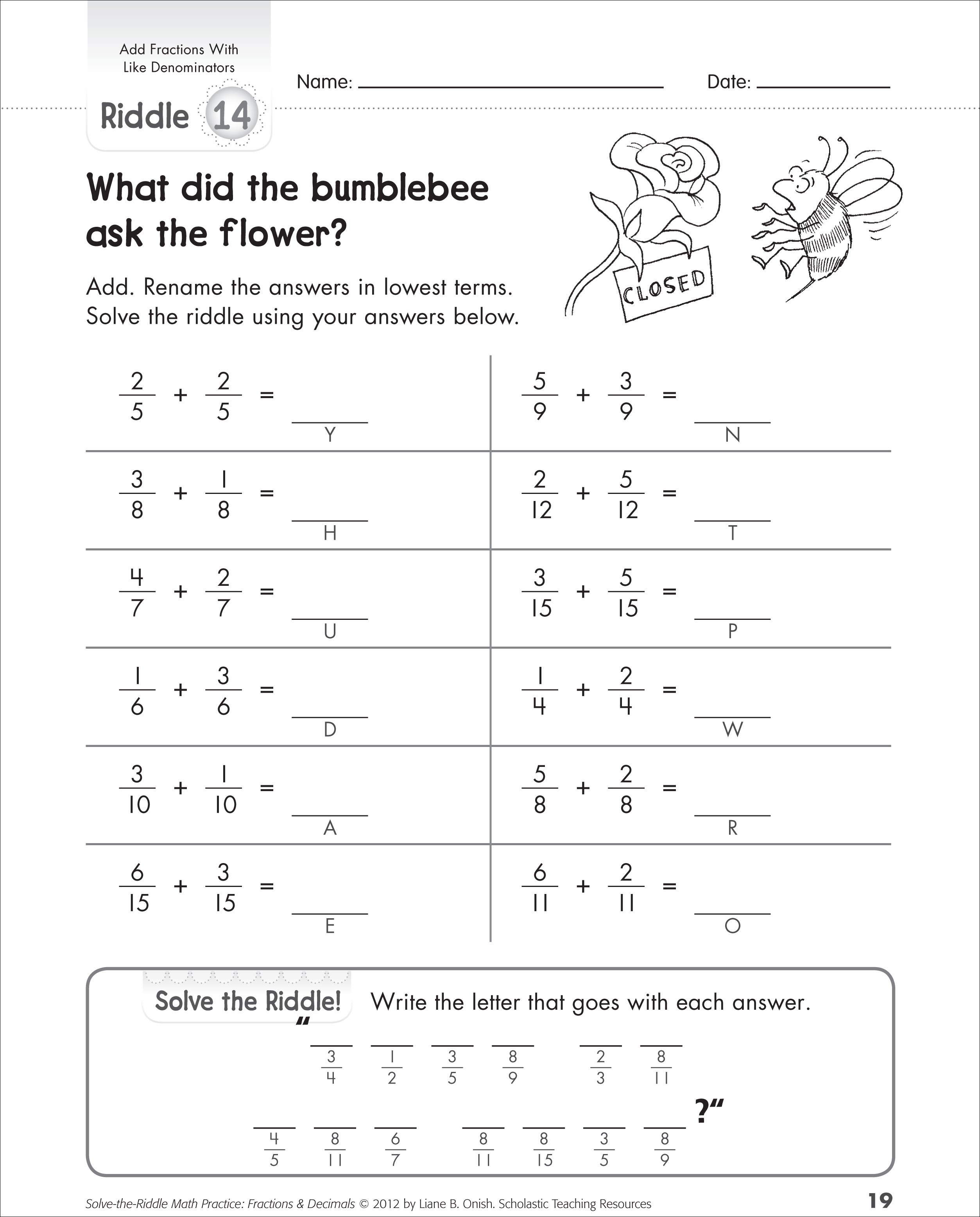 5th Grade Math Worksheets Adding Fractions With Unlike