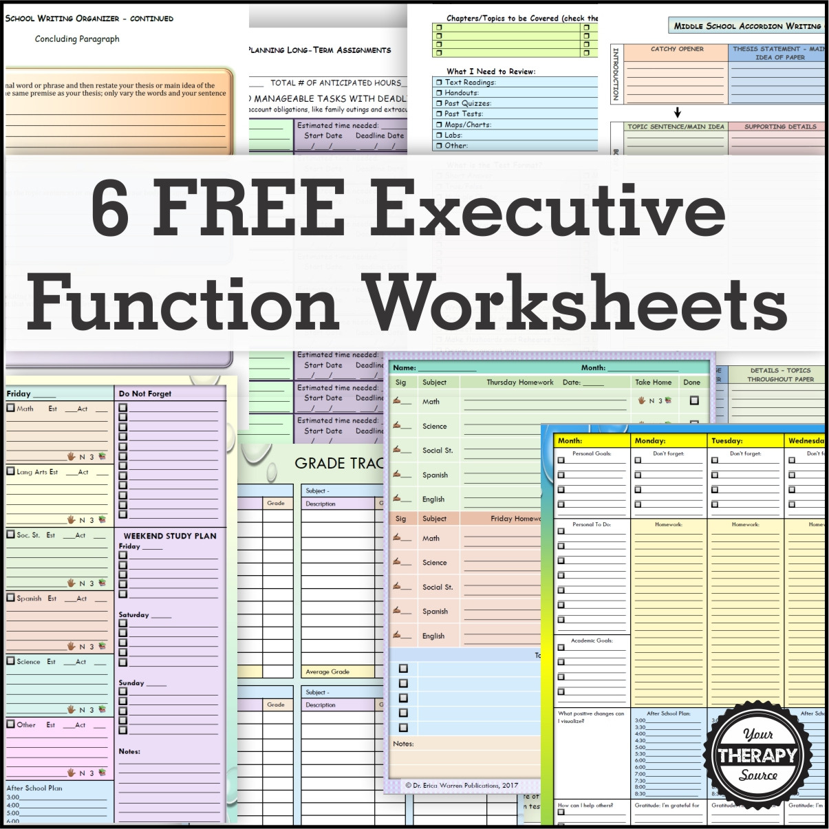 6 Free Executive Functioning Activity Worksheets Your