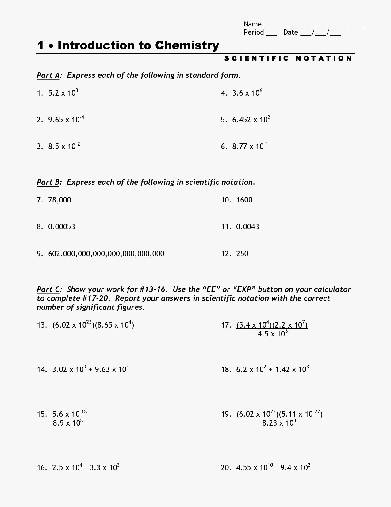 62 Luxury Of Classy Scientific Notation Worksheet Stock