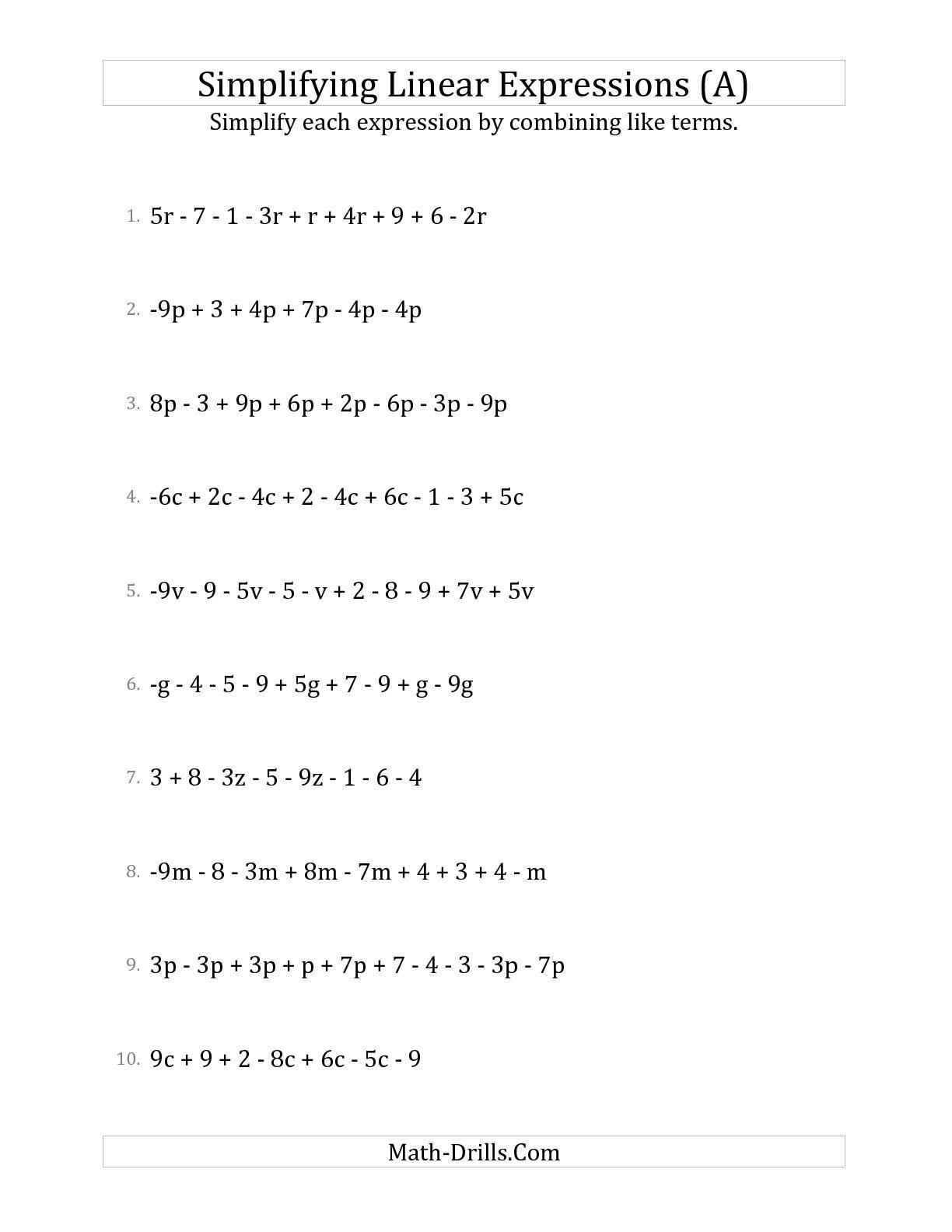 6th Grade Algebra Worksheets