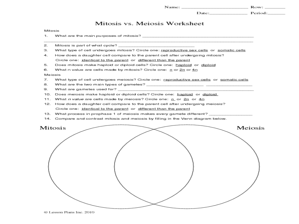 75 Unmistakable Comparing Mitosis And Meiosis Worksheet