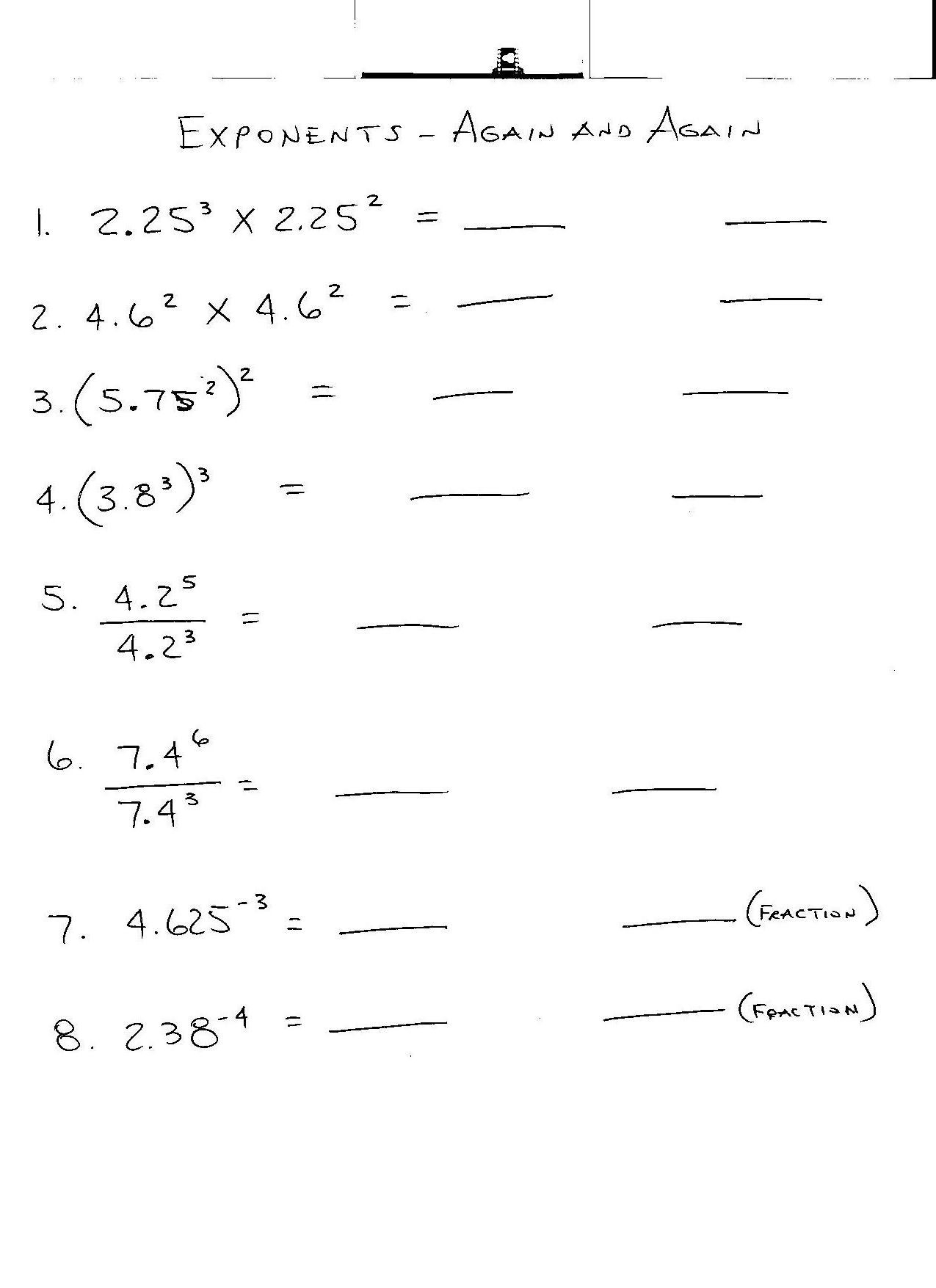 7th Grade Math Worksheets On Exponents Homeshealth