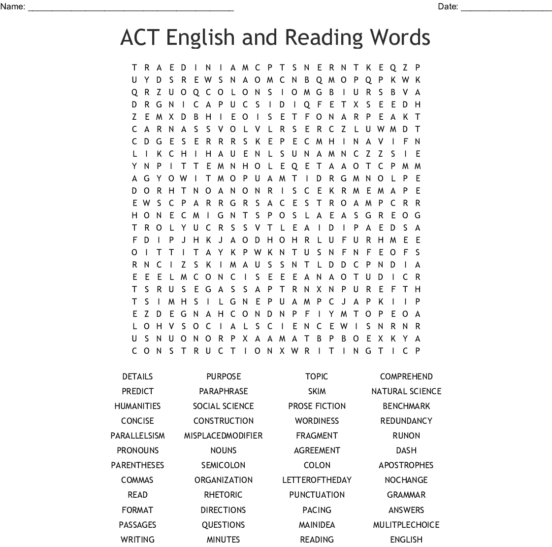 Act English Practice Worksheets