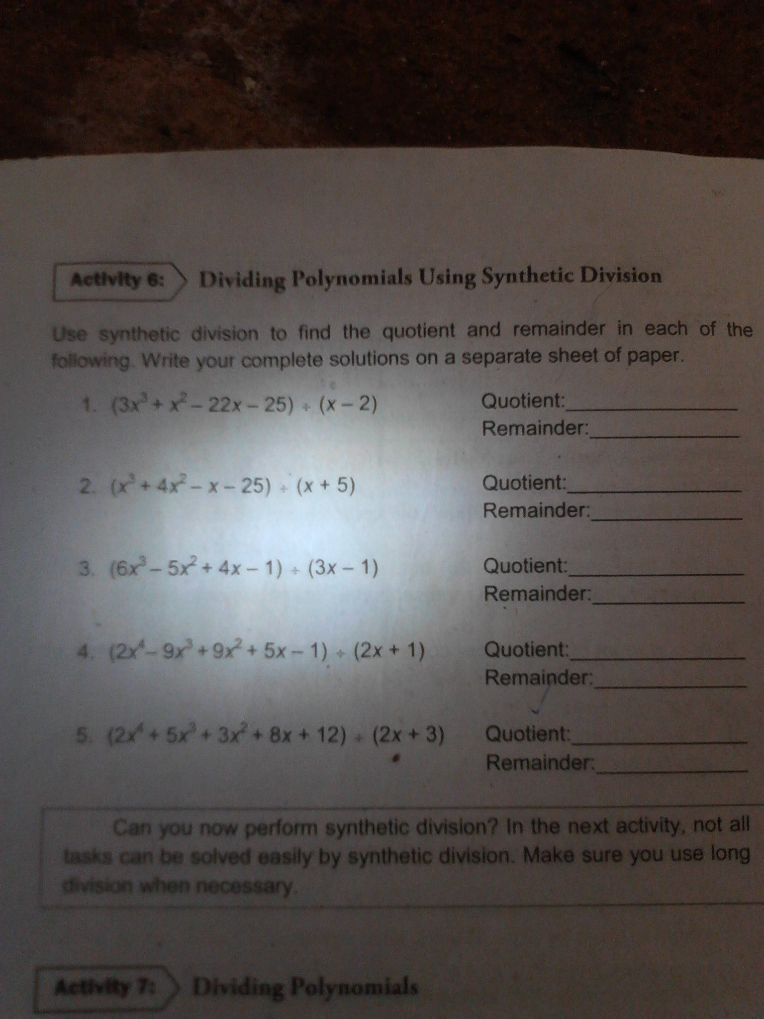 Activity 6 Dividing Polynomials Using Synthetic Division