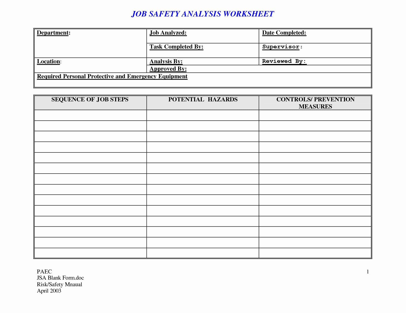 Job Safetyysis Worksheet