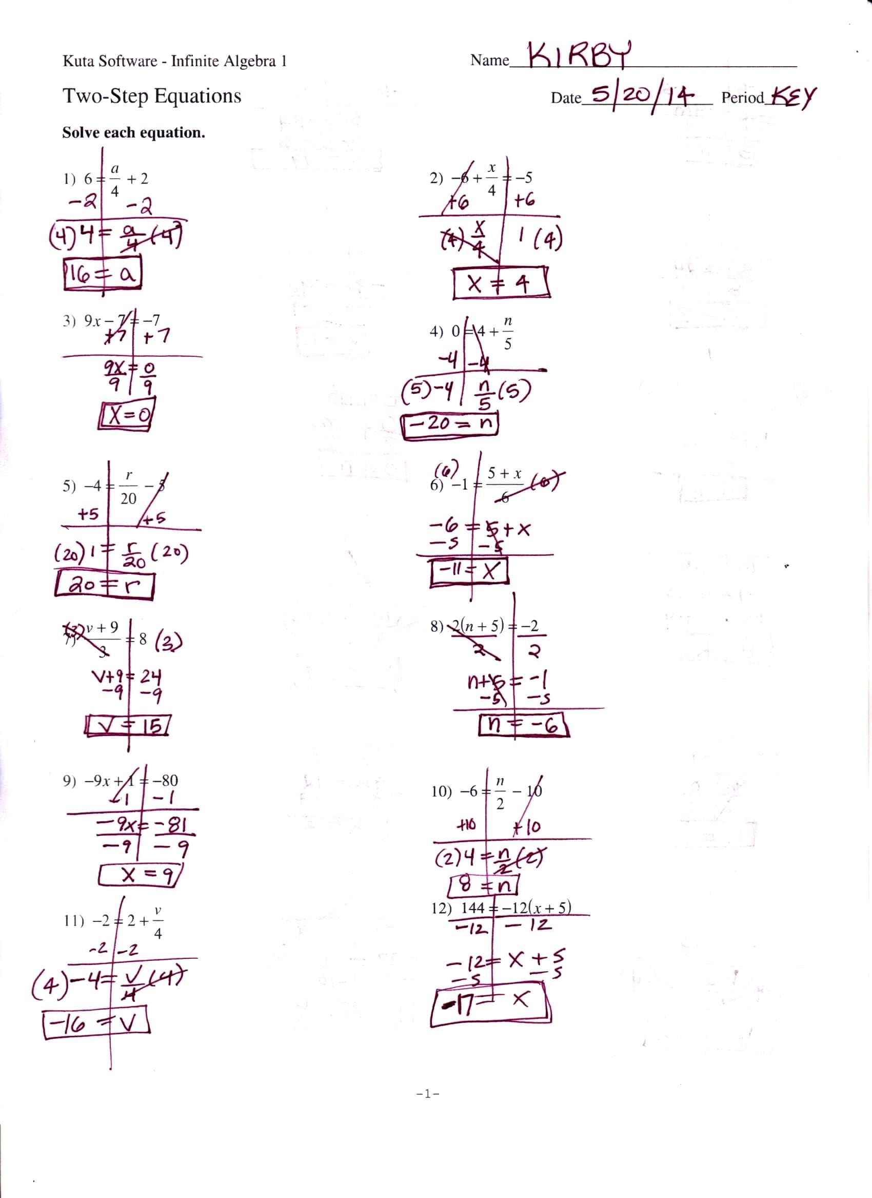 Algebra 1 Worksheets And Answer Key