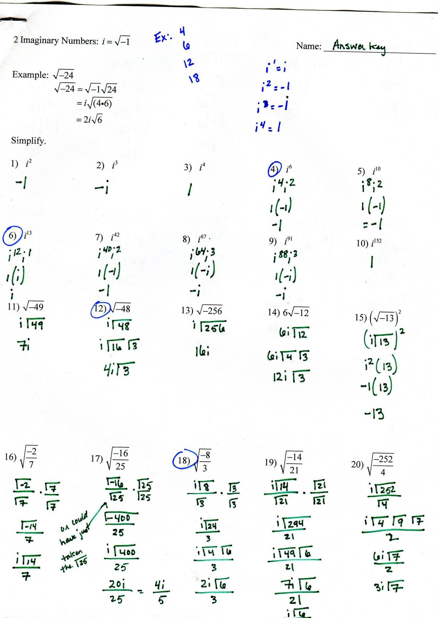 Algebra 3 Rational Functions Worksheet 1 Answer Key
