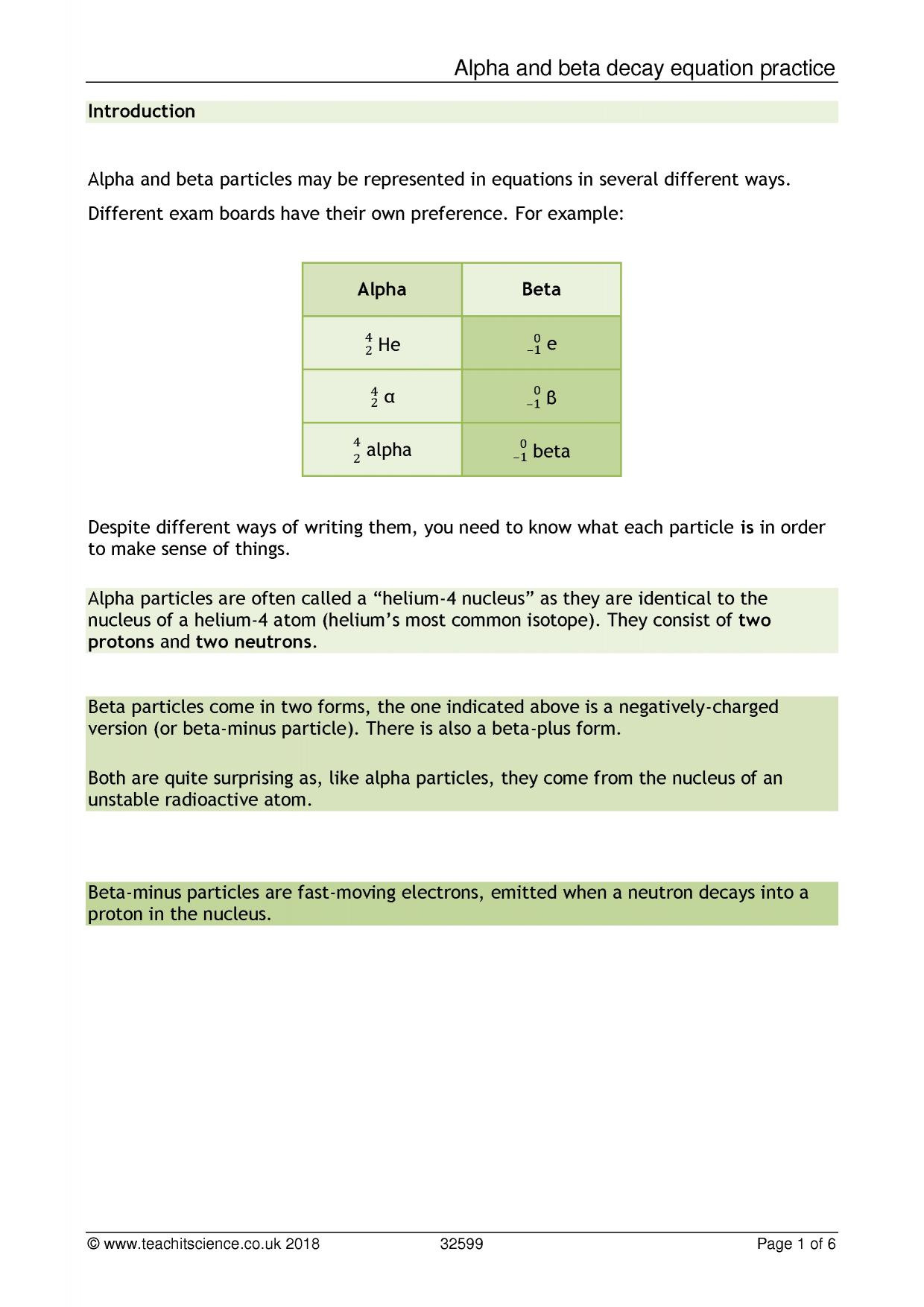 Alpha And Beta Decay Worksheet With Answers