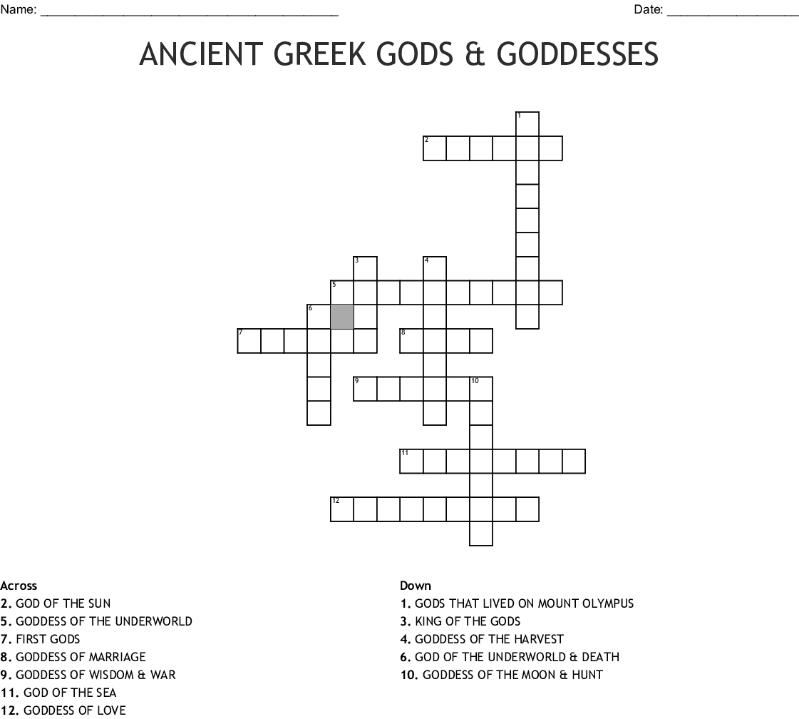Ancient Greek Gods Goddesses Crossword Word