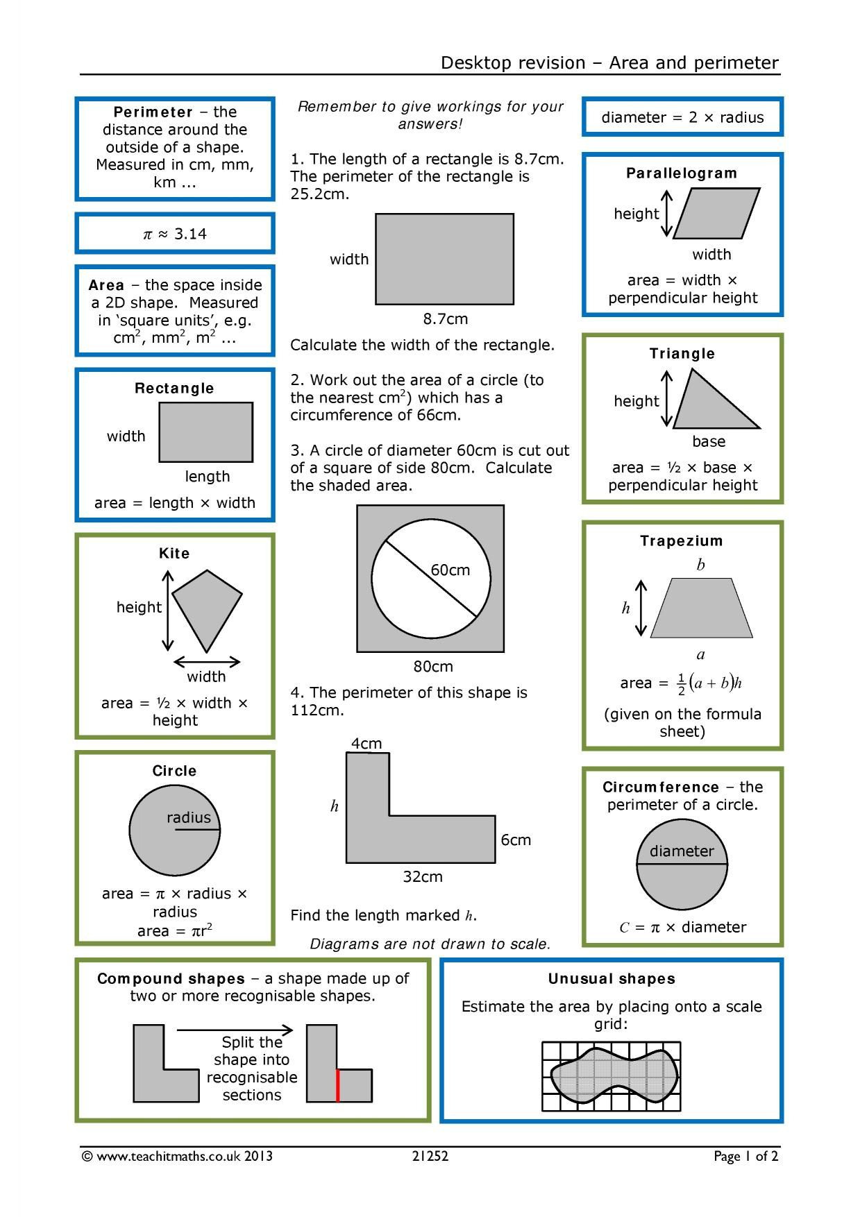 Area And Circumference Of A Circle Worksheet