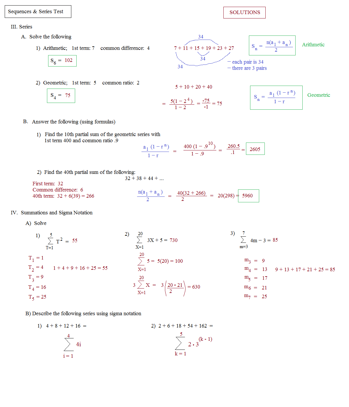 Arithmetic Sequences And Series Worksheet Answers