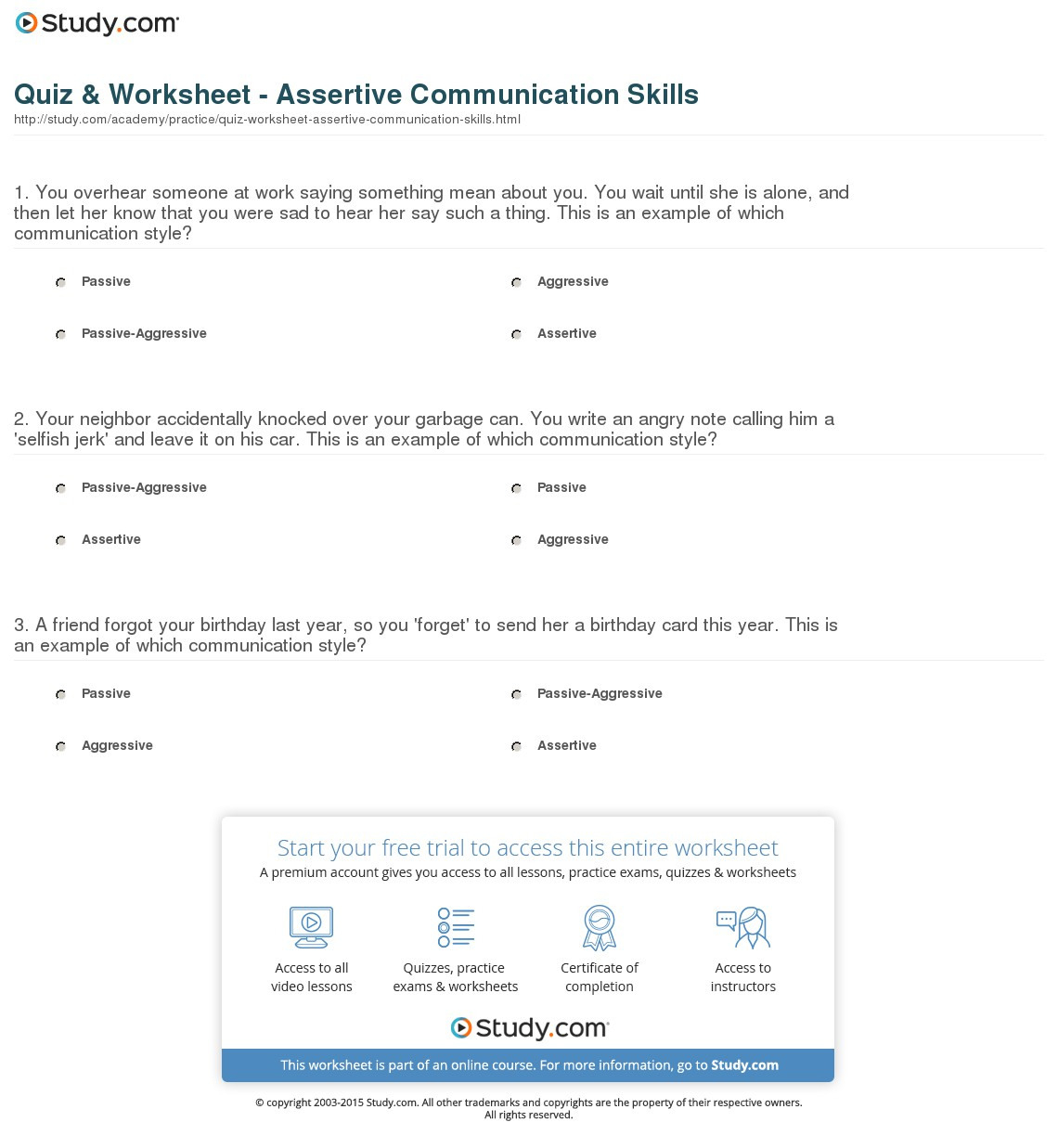 Assertiveness Training Worksheets Mean Median Mode Range