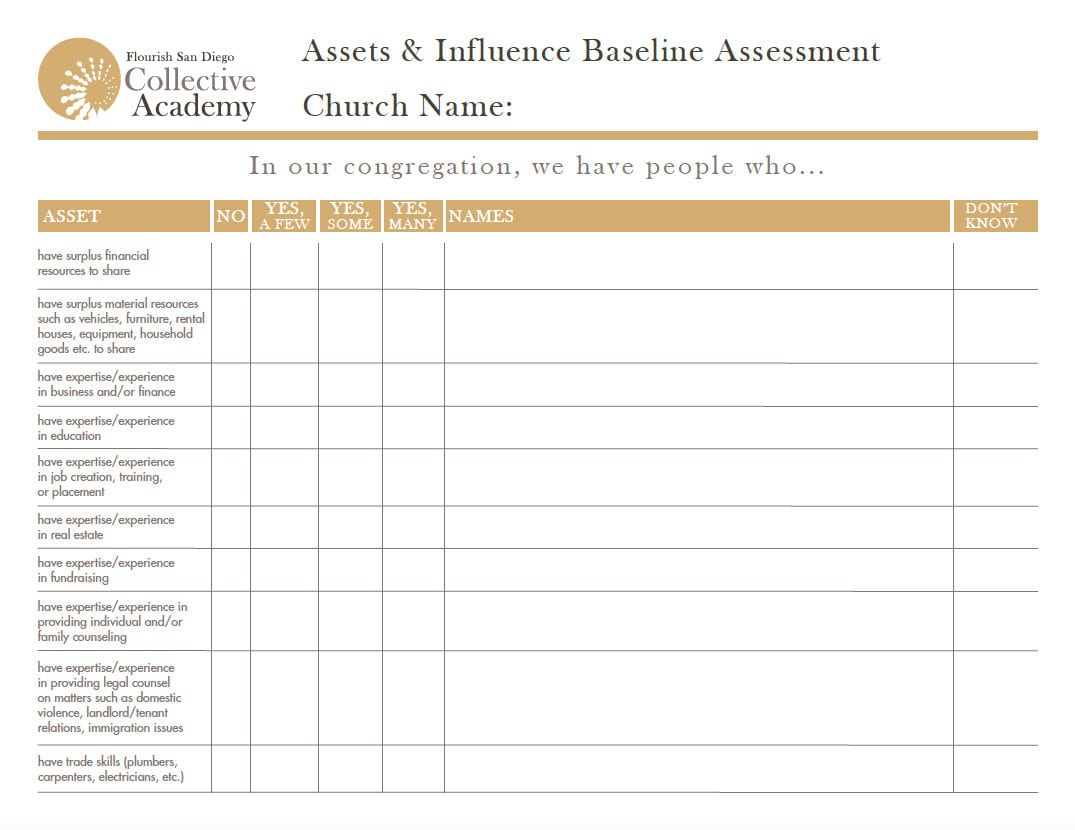 Asset Influence Inventory Worksheet Flourish Sango