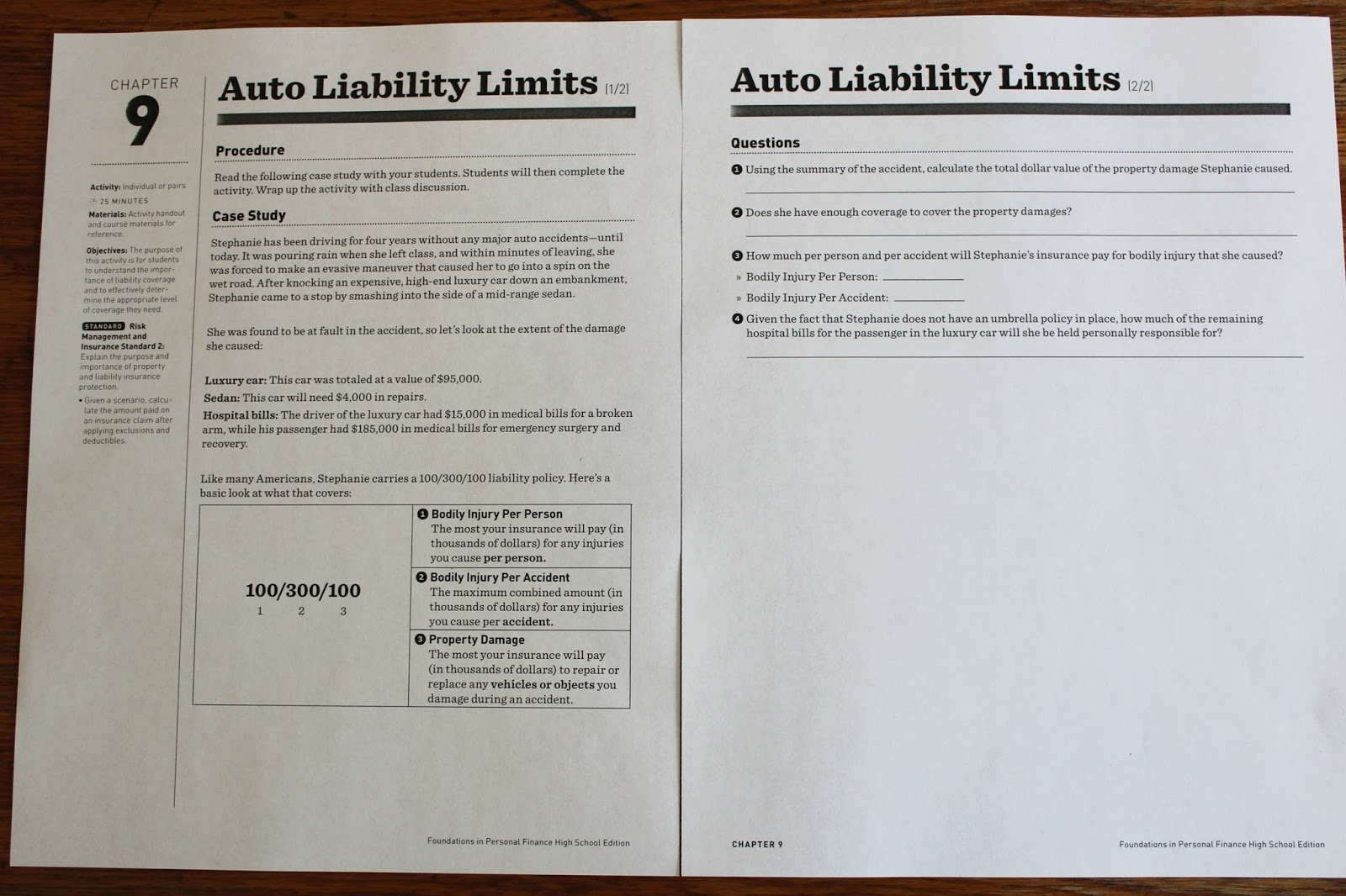Auto Liability Limits Worksheet Answers