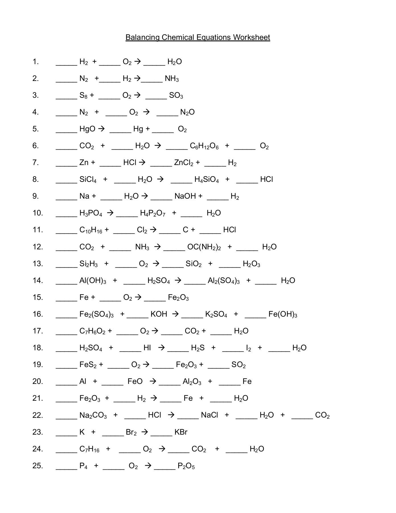 Balancing Chemical Equations Worksheet O H O