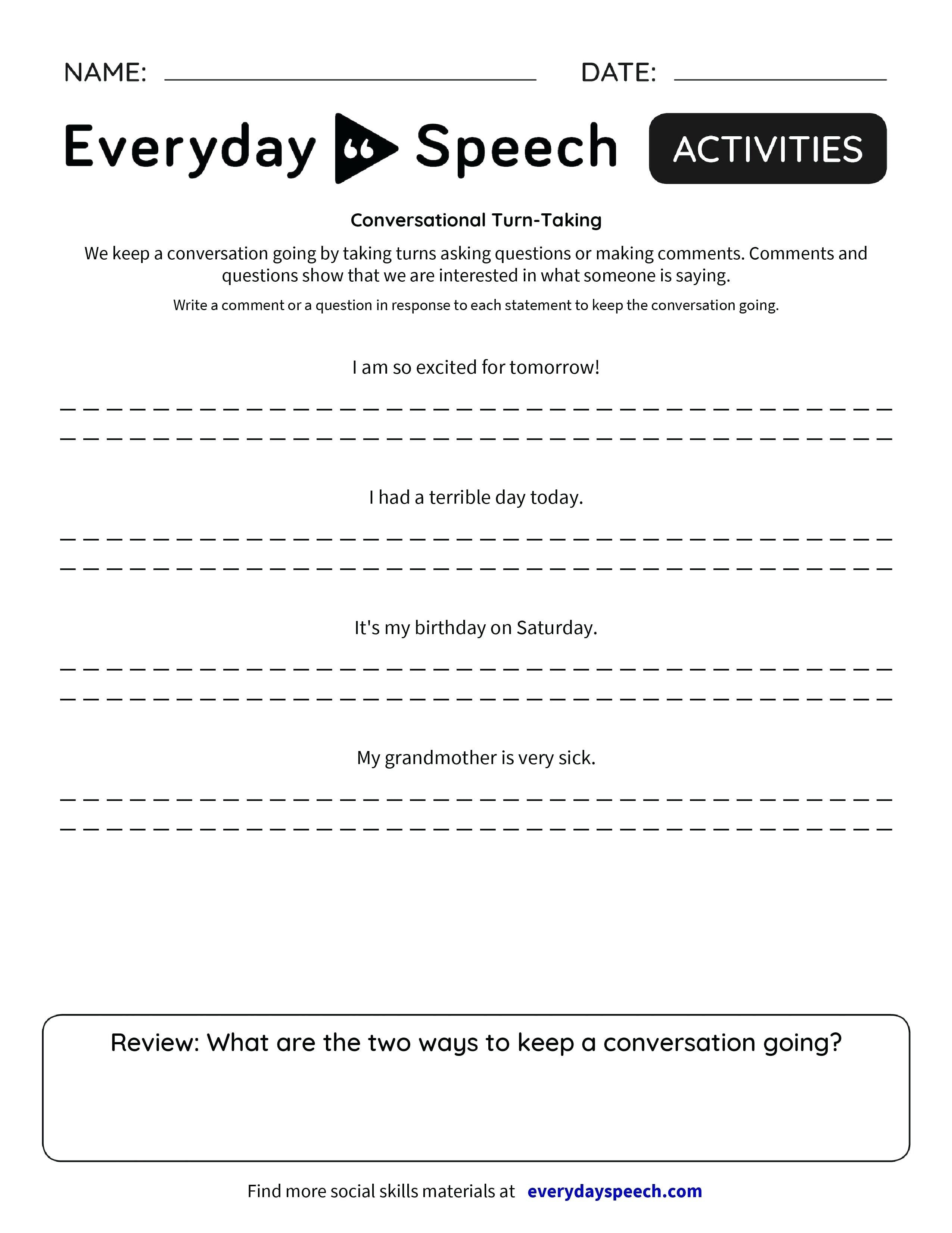 Basic Conversation Skills Worksheets