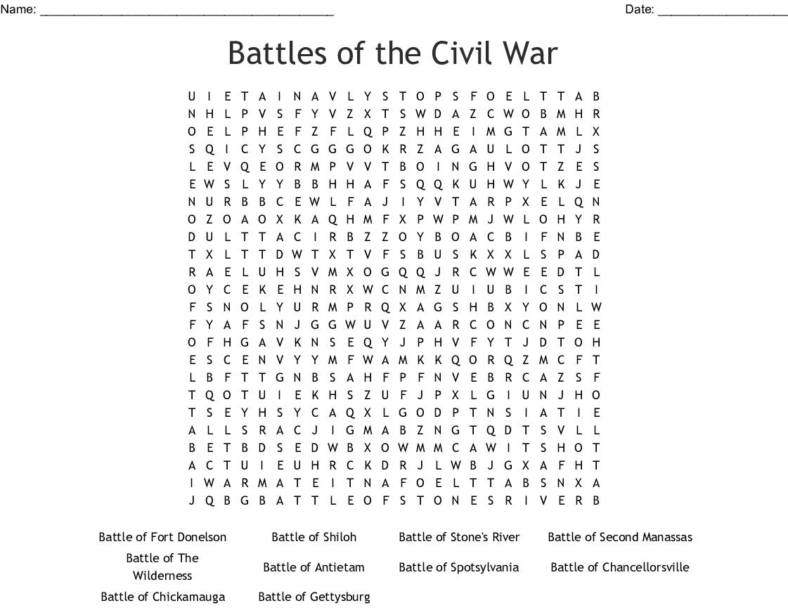 Civil War Battles Worksheet
