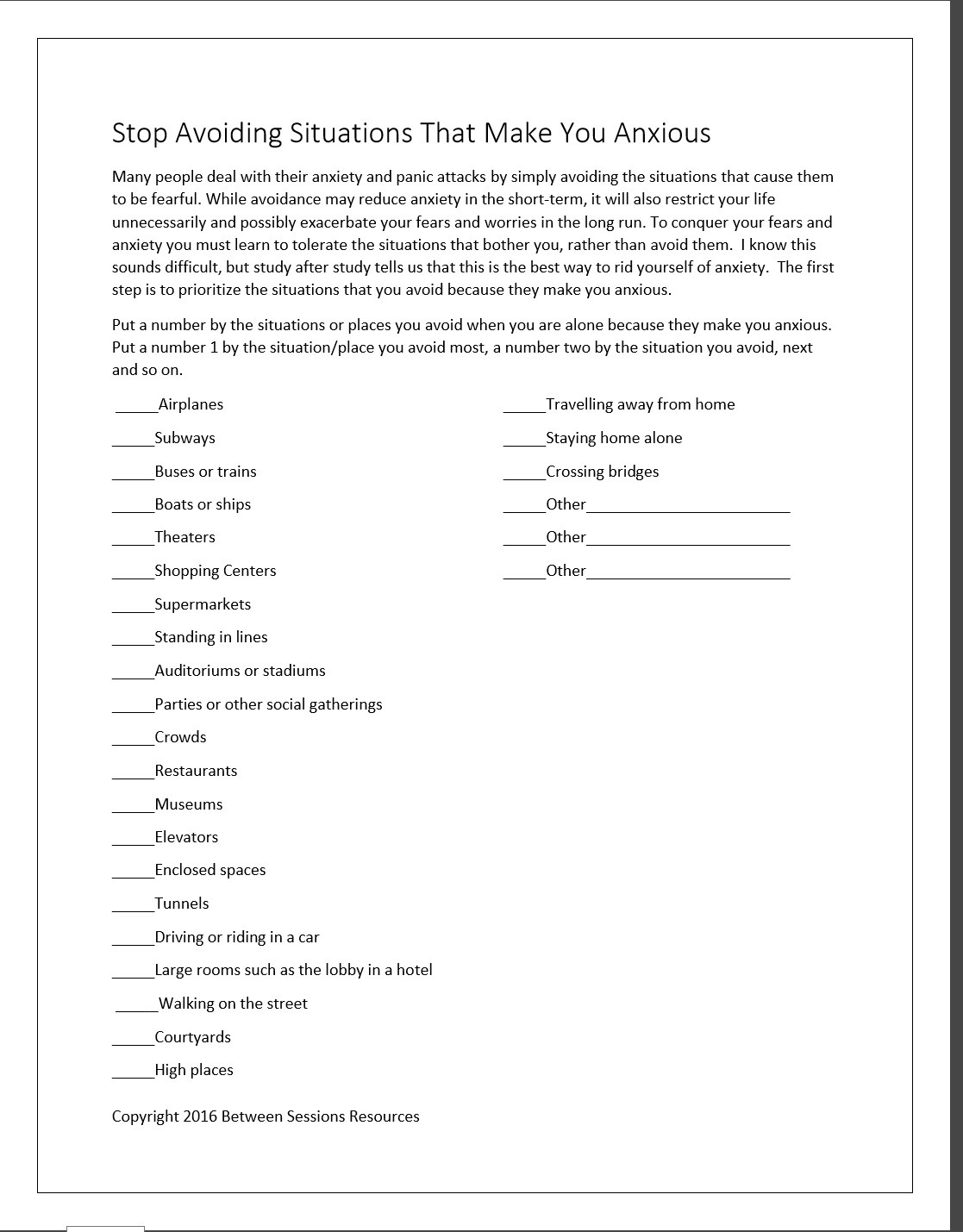 Anxiety Worksheets For Teens
