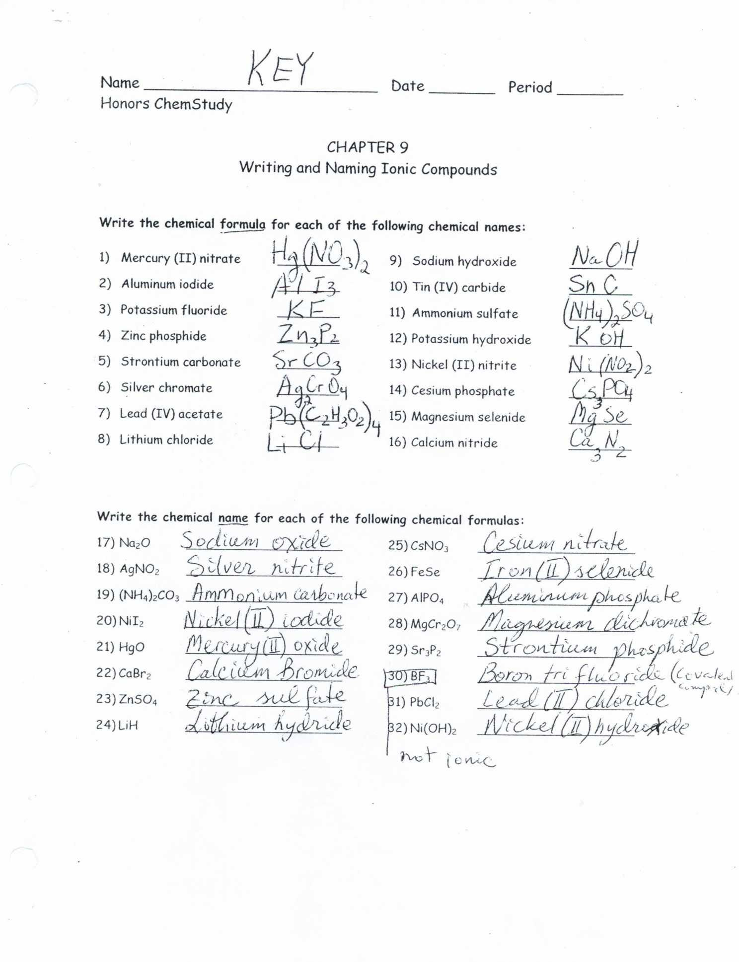 Ionic Compound Formula Writing Worksheet Answers