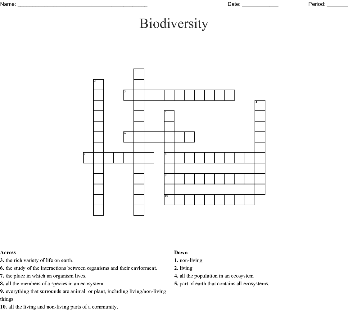 Biodiversity Word Search Word