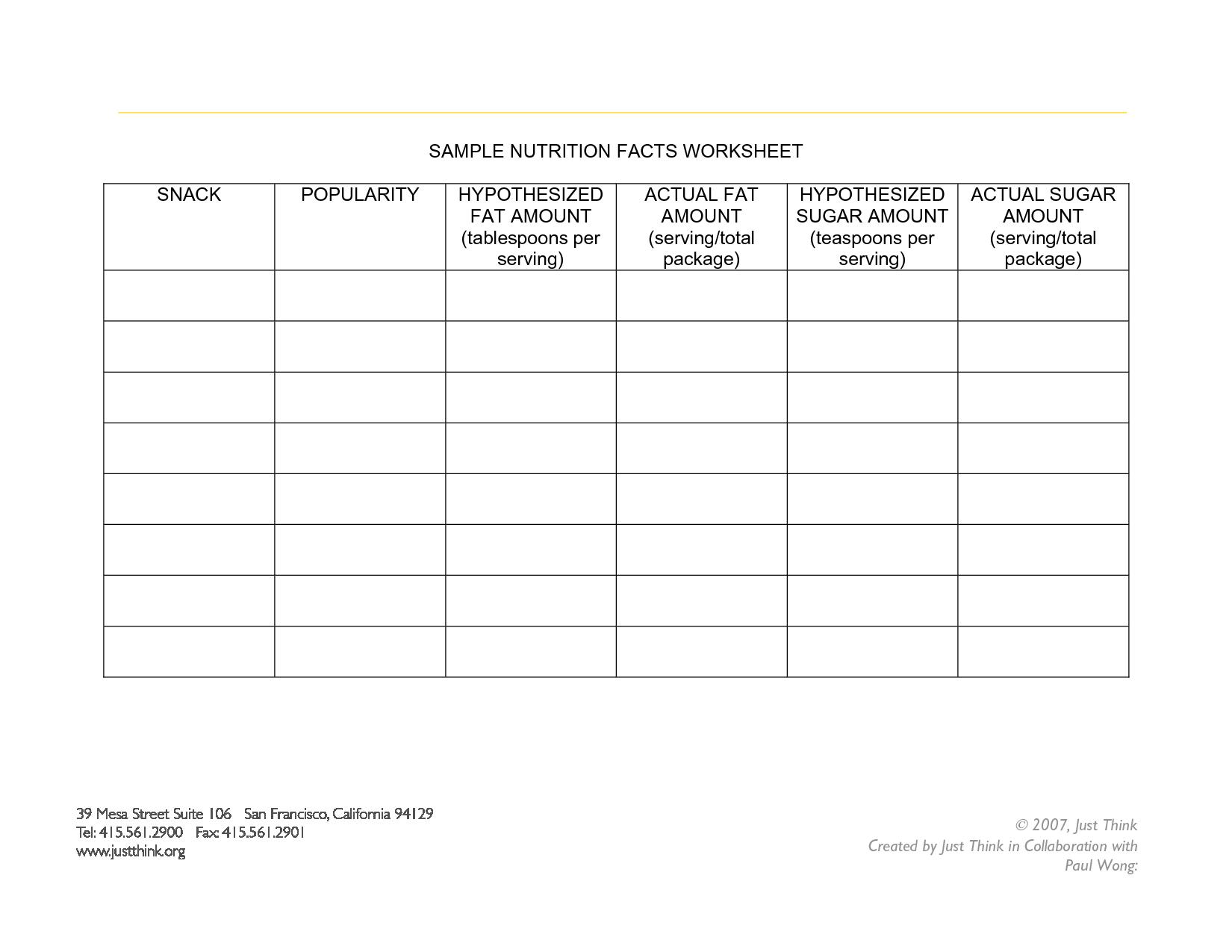 Blank Nutrition Label Worksheet Netvs
