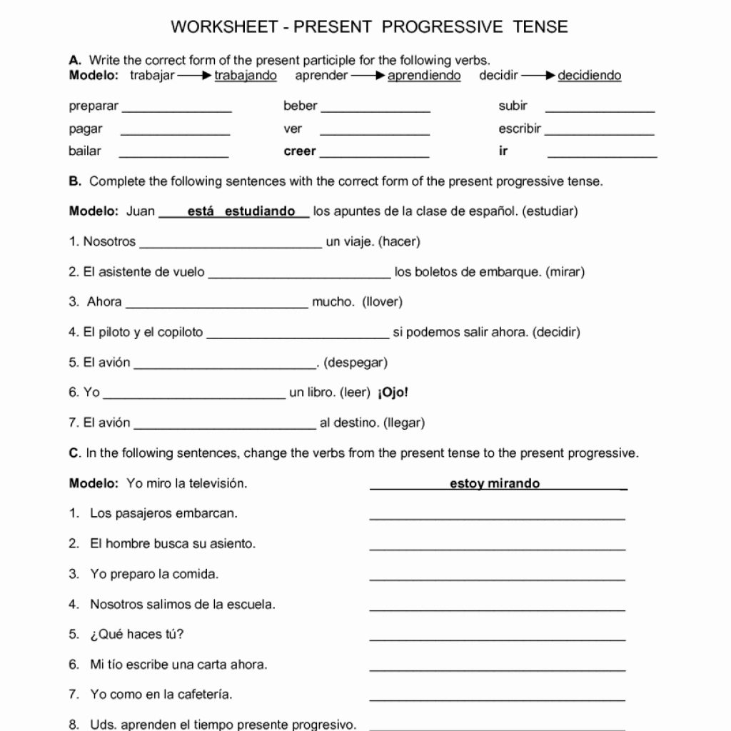 Spanish Worksheets For High School