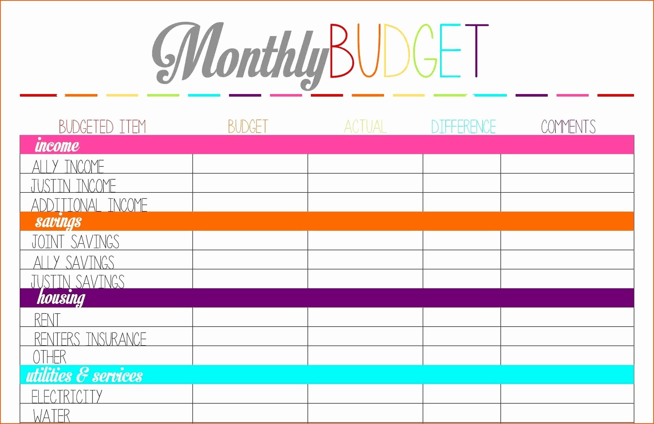 Budgeting For Dummies Worksheet
