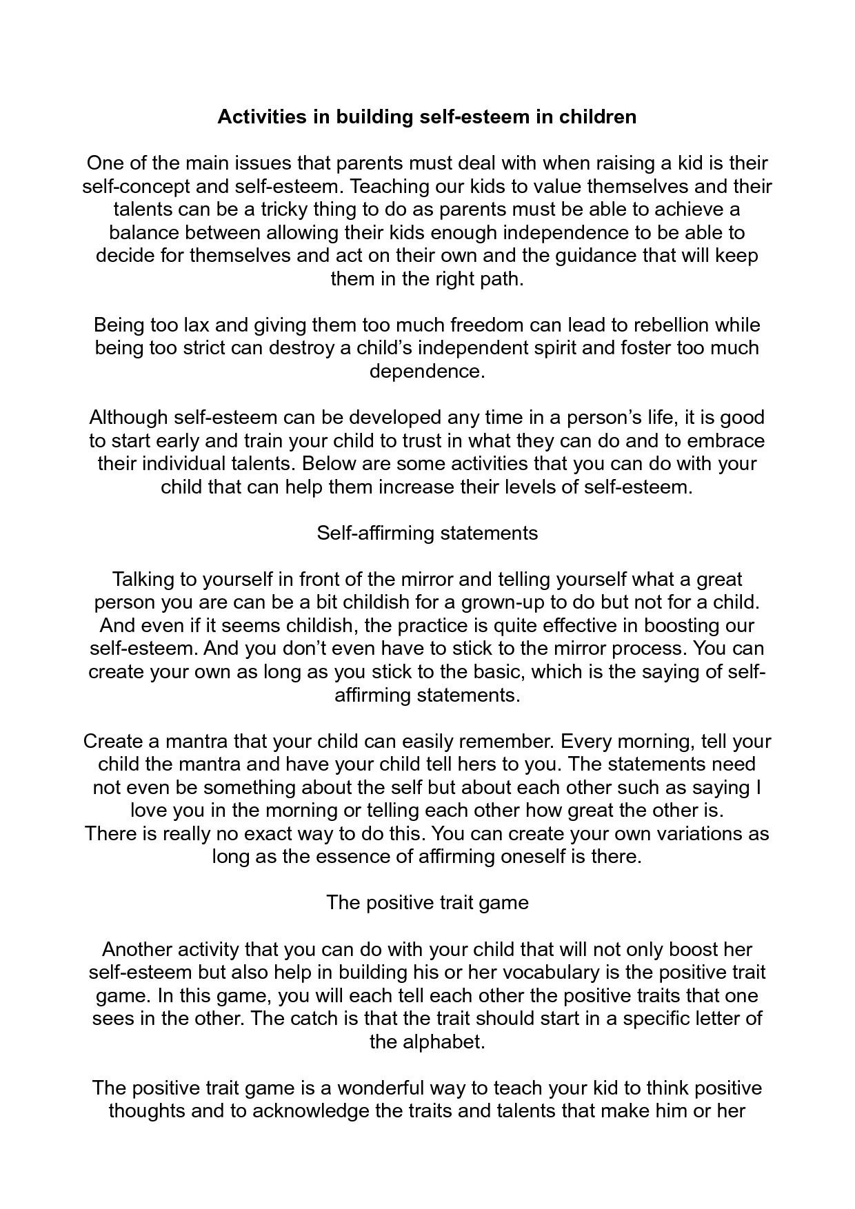Building Self Esteem Worksheets For Chil