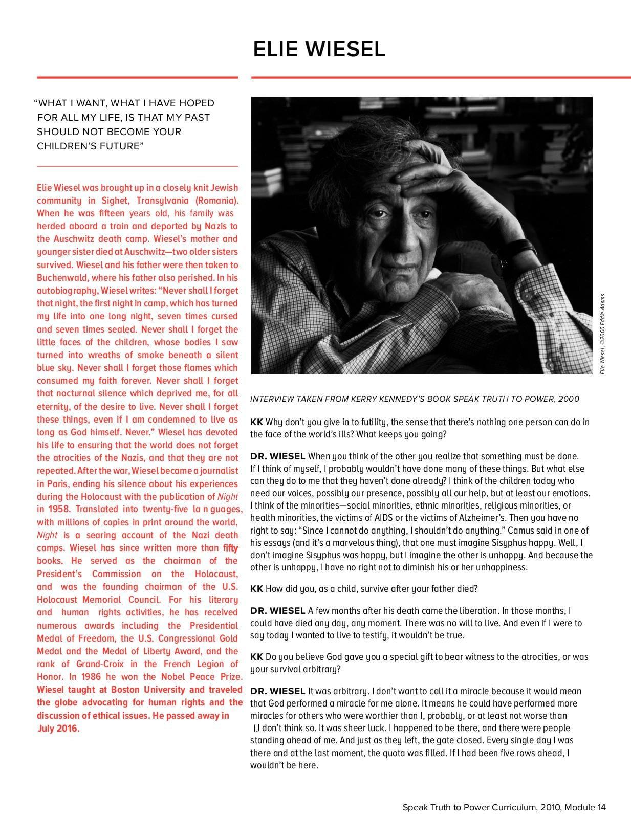 Oprah Elie Wiesel Auschwitz Camp Worksheet Answers
