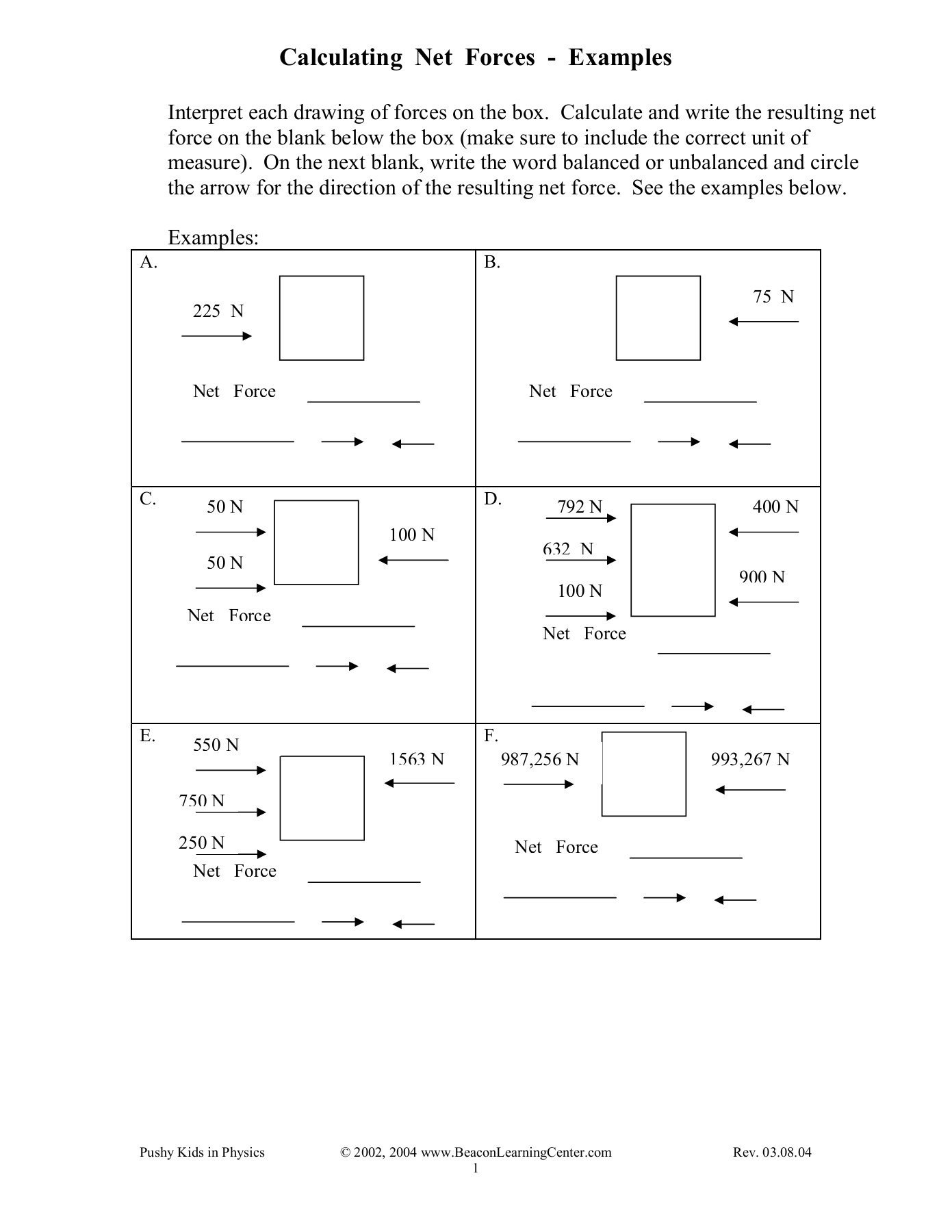 Calculating Net Forces Pages 1 3 Text Version