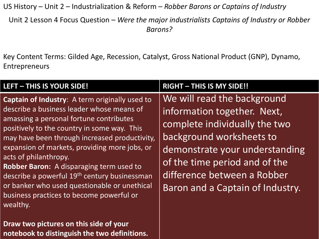 Captains Of Industry Or Robber Barons Worksheet Answers Db Excel