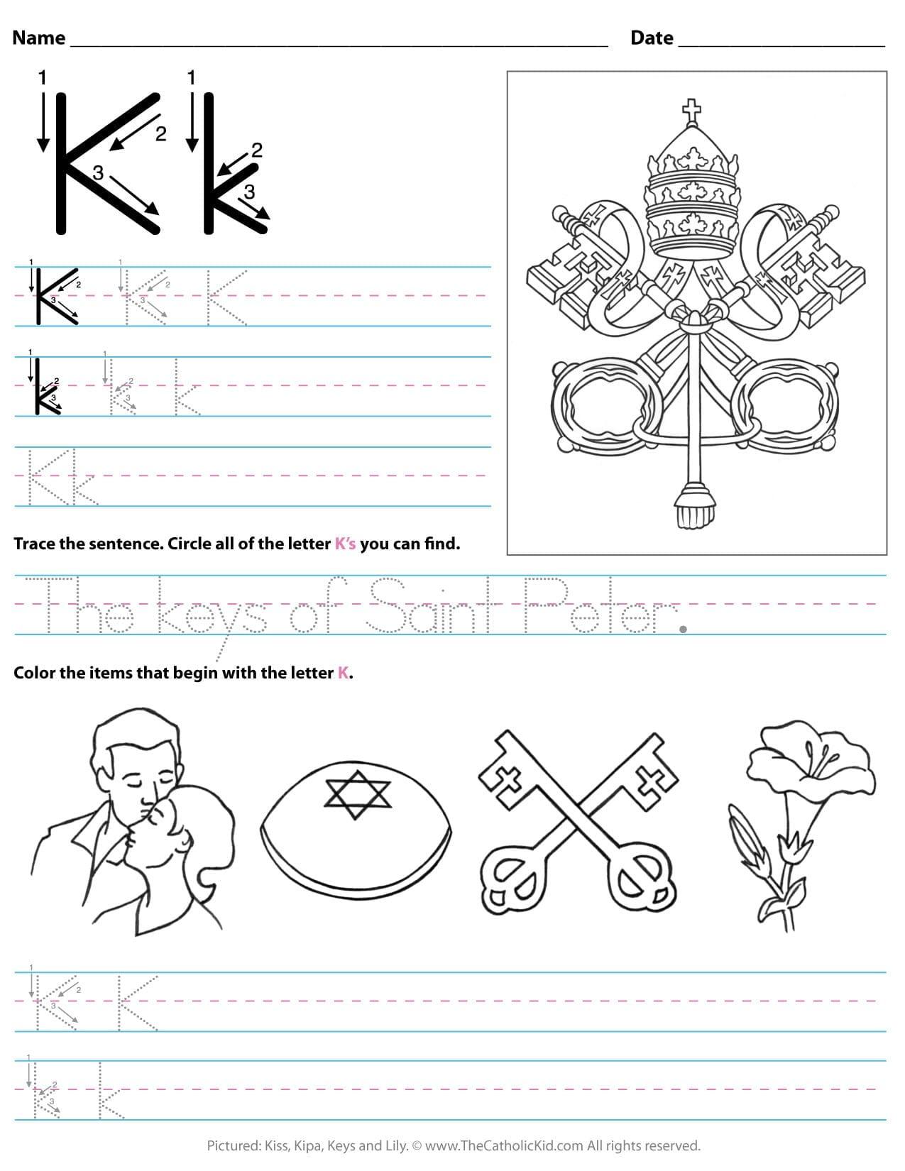 Catholic Alphabet Letter K Worksheet Preschool