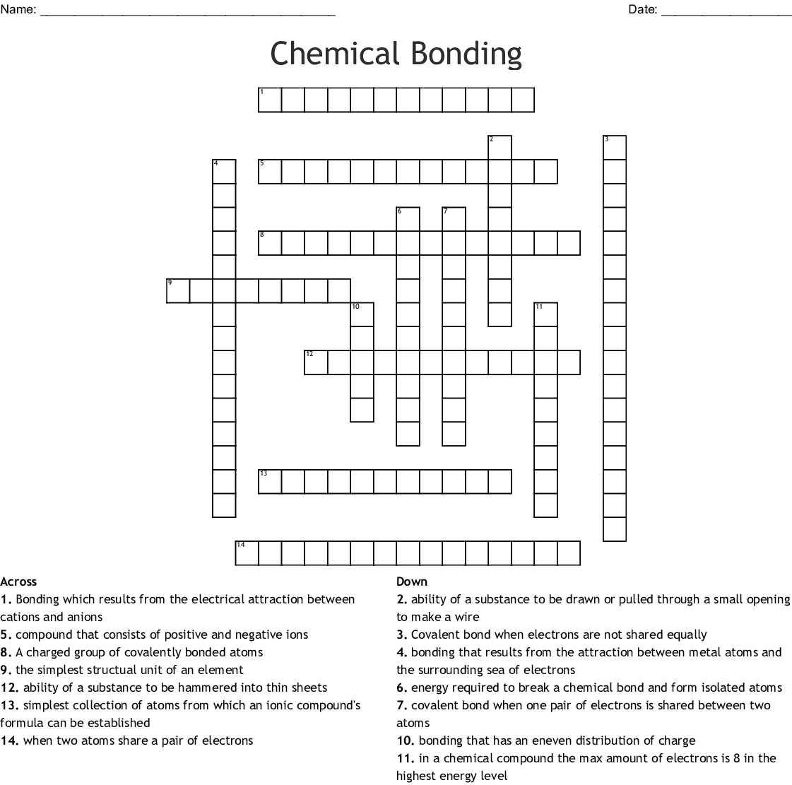 Chemical Bonding Crossword Word