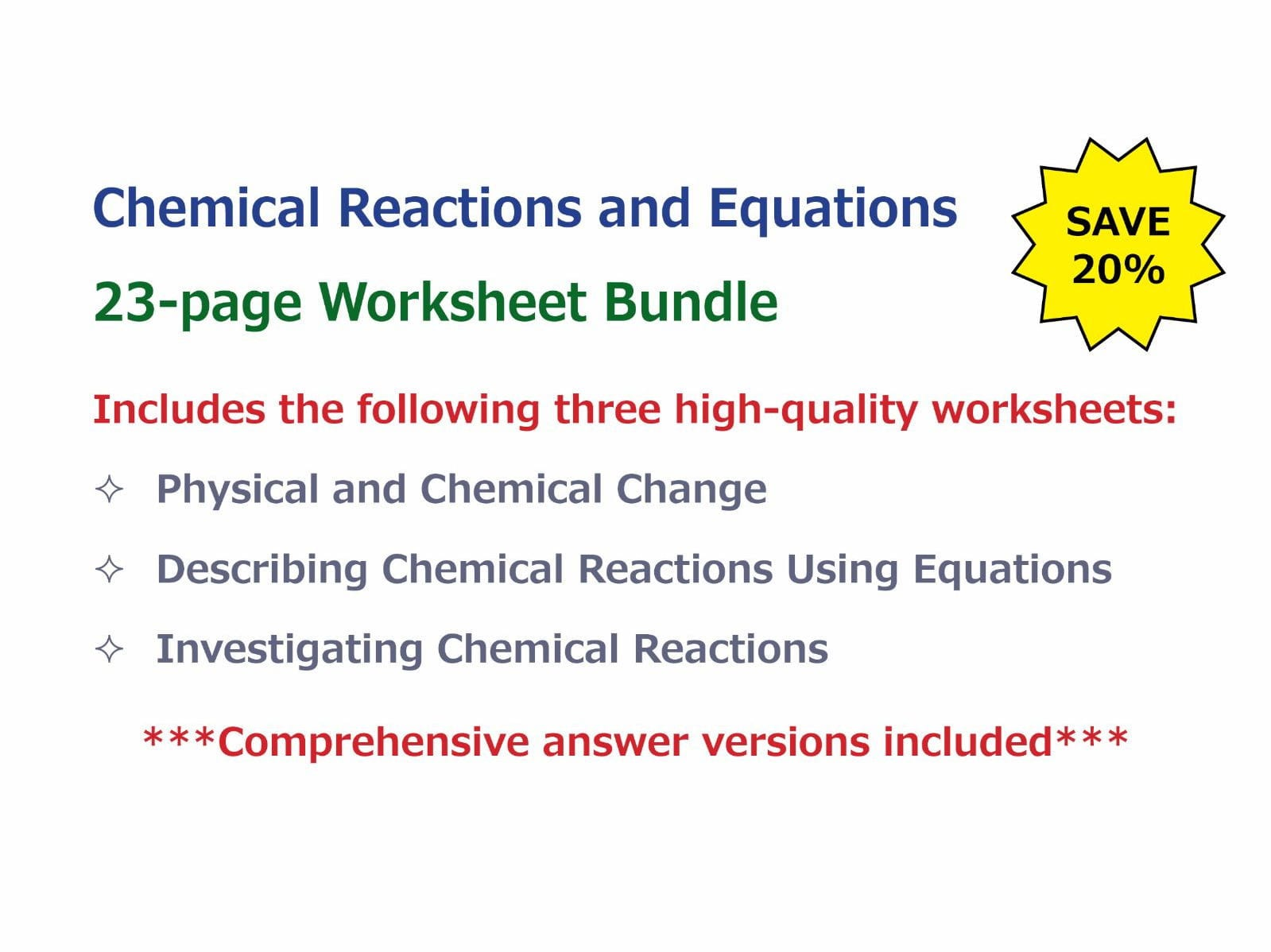 Chemical Reactions And Equations Worksheet Bundle