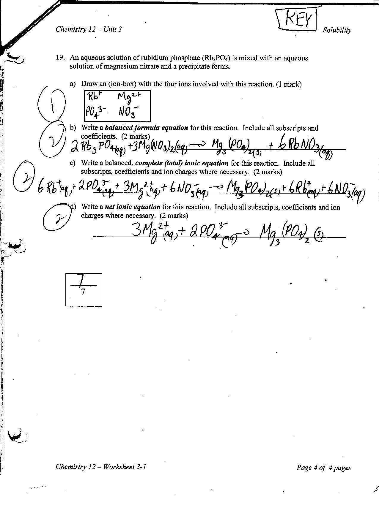 Chemistry Dataysis Worksheets