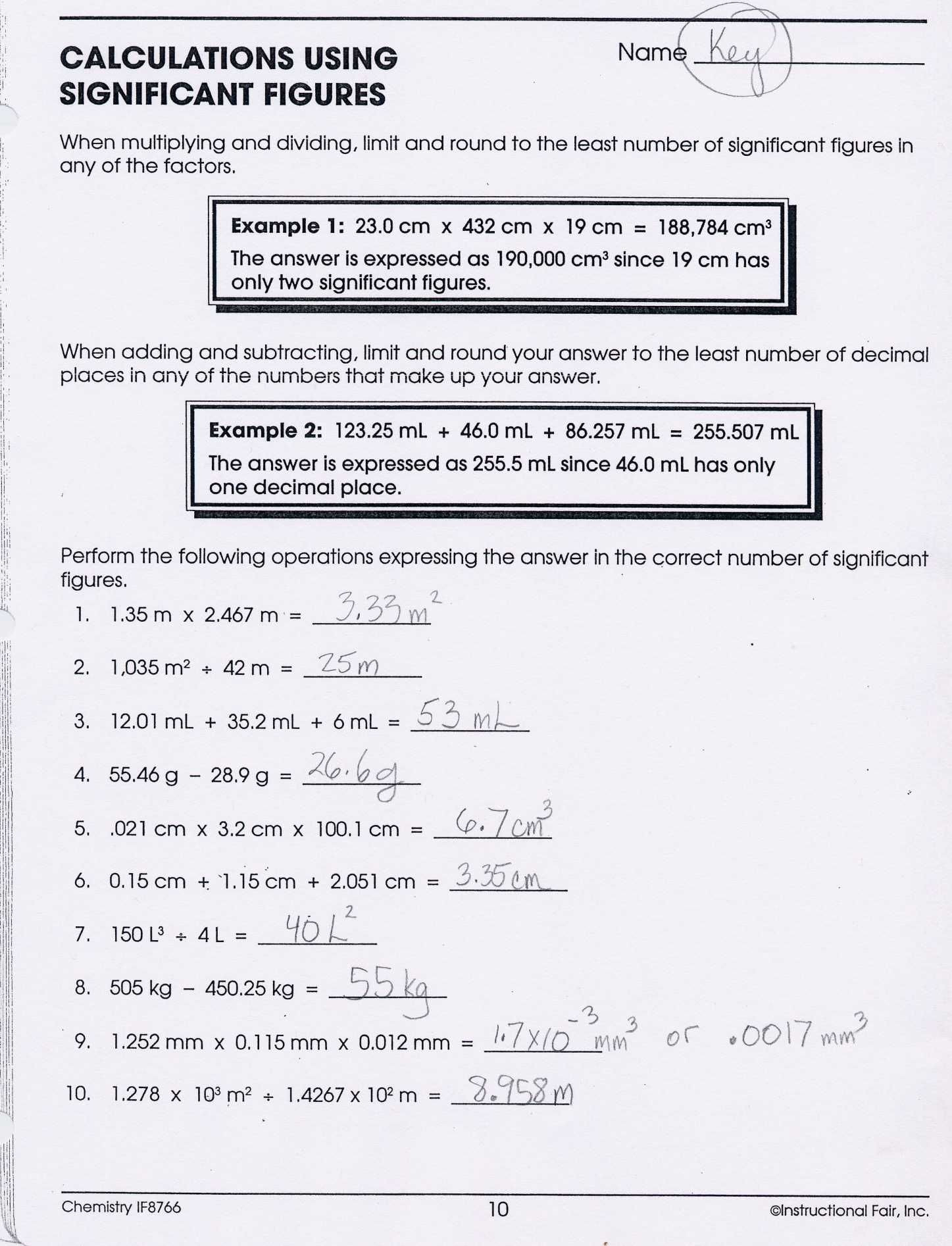 Chemistry Chapter 7 Worksheet Answers