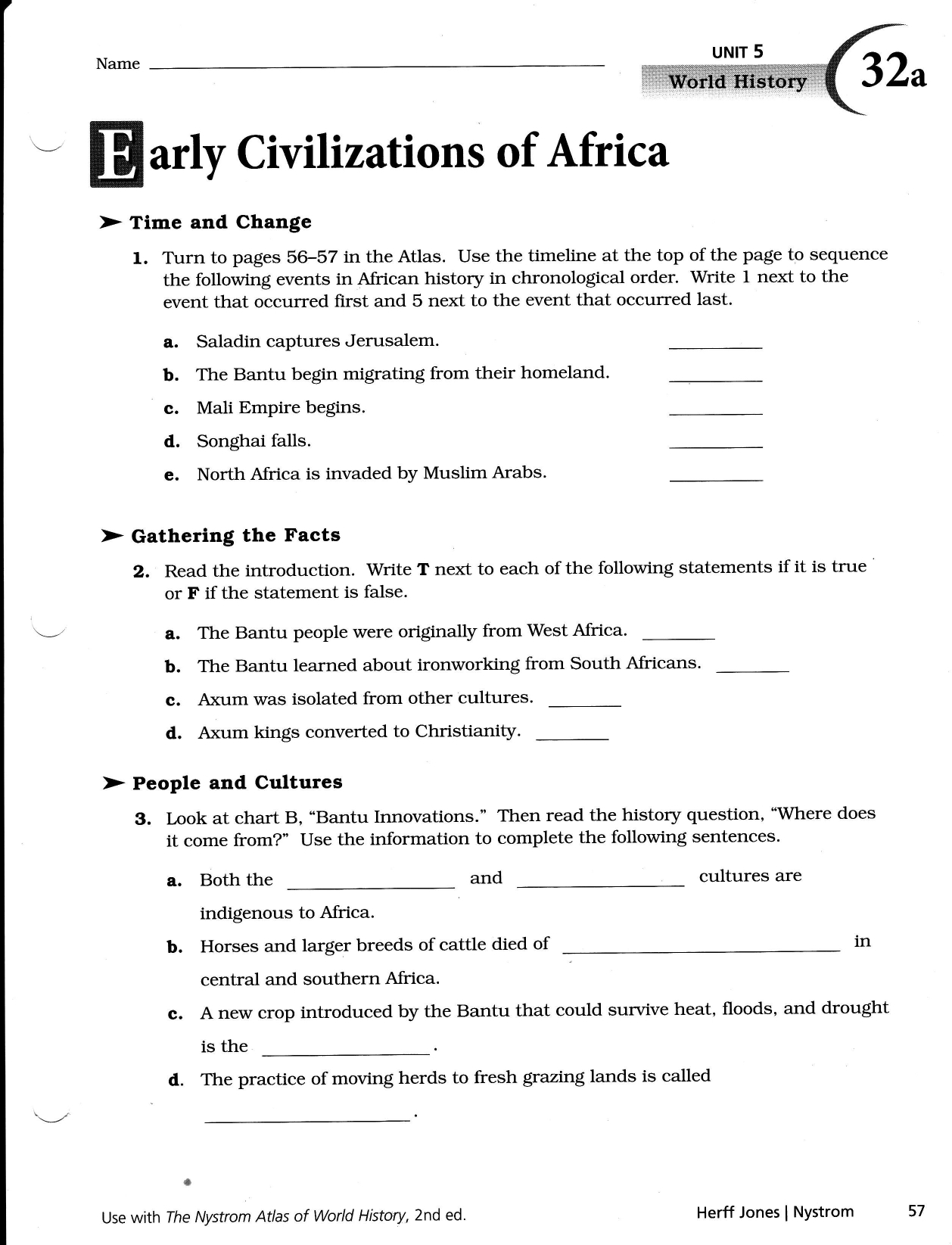 Nystrom Atlas Of World History Worksheets Answers