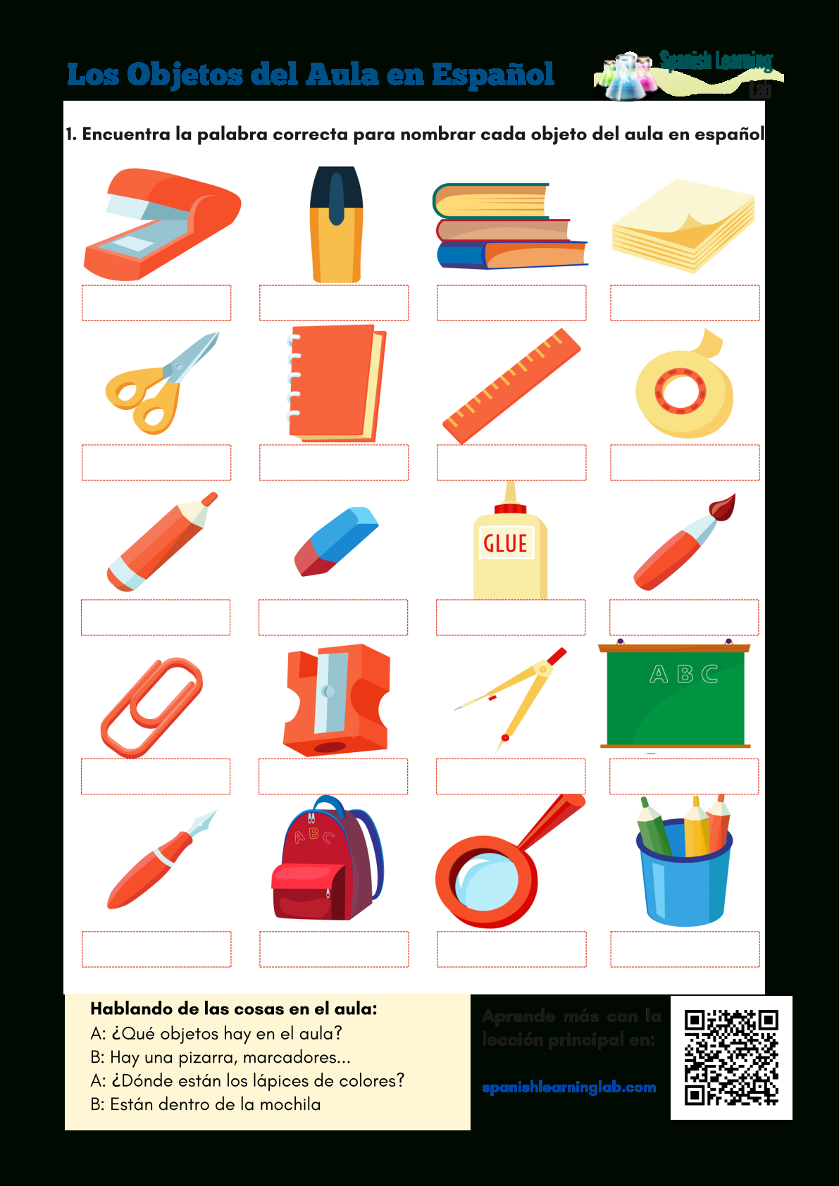 Classroom Objects In Spanish Worksheet Free