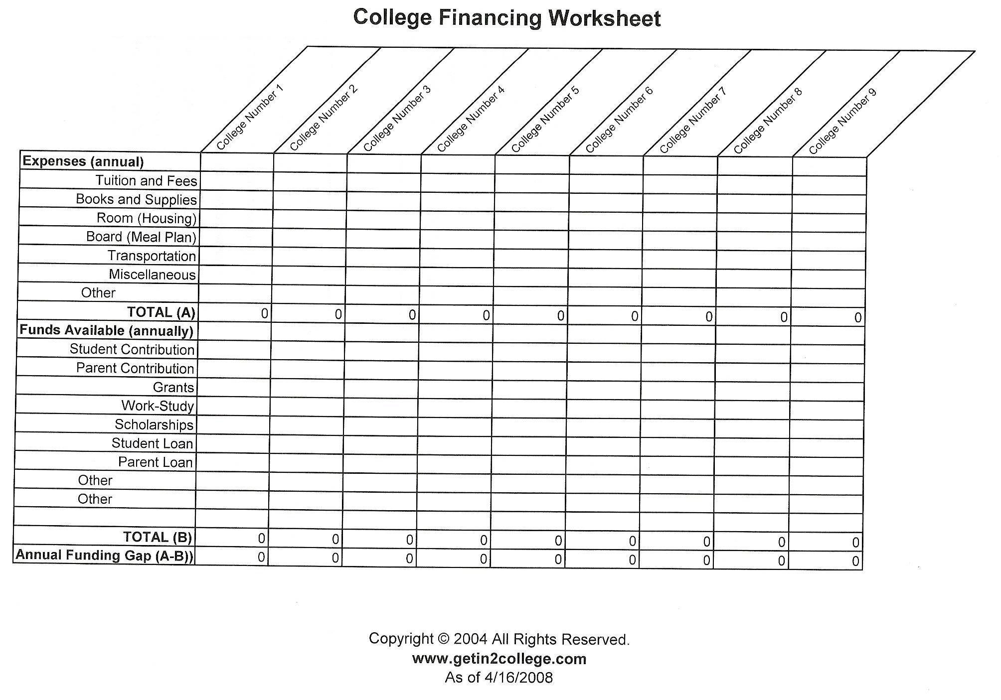 College Planning Worksheet